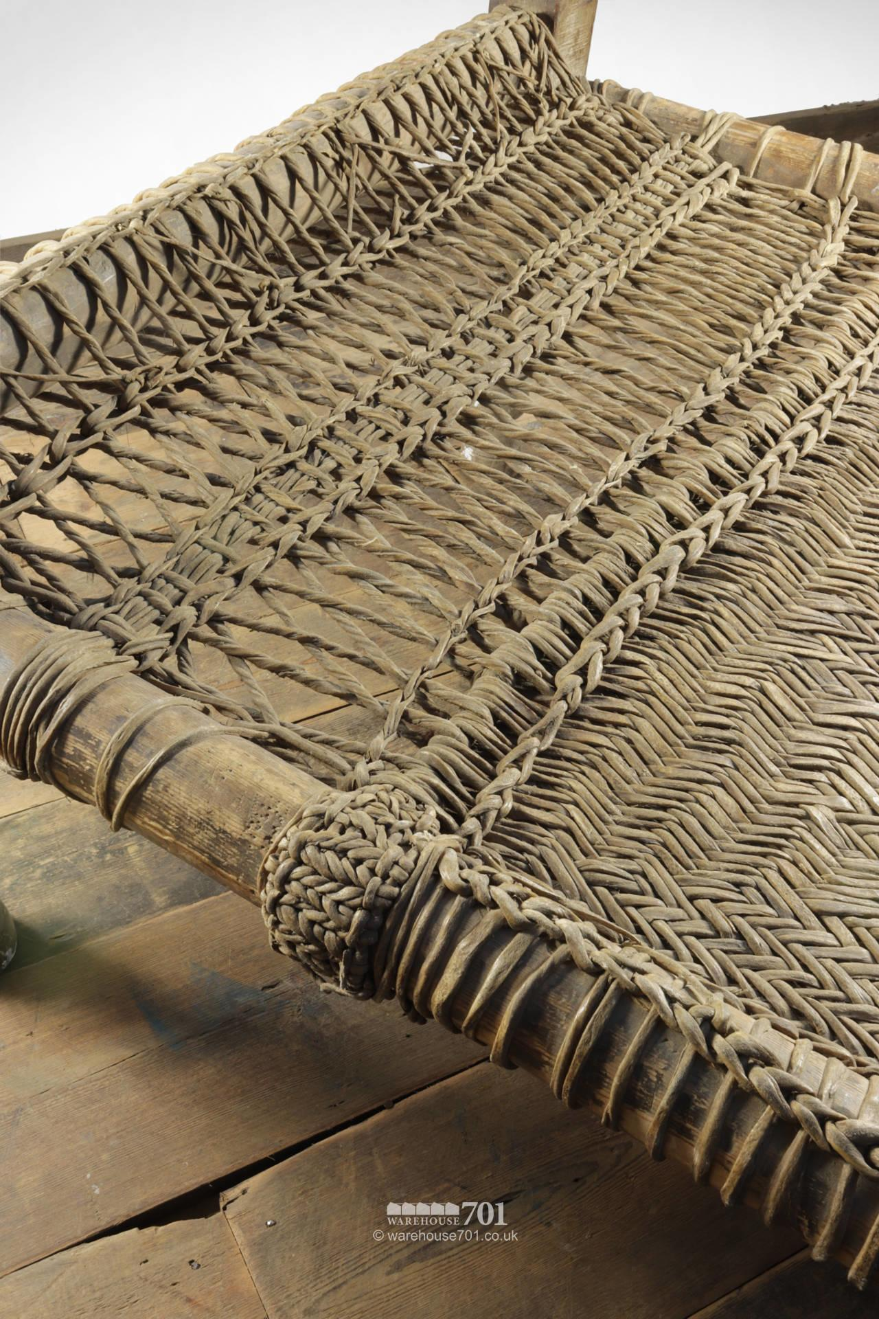 Decorative Wood and Woven Rattan Bed #4