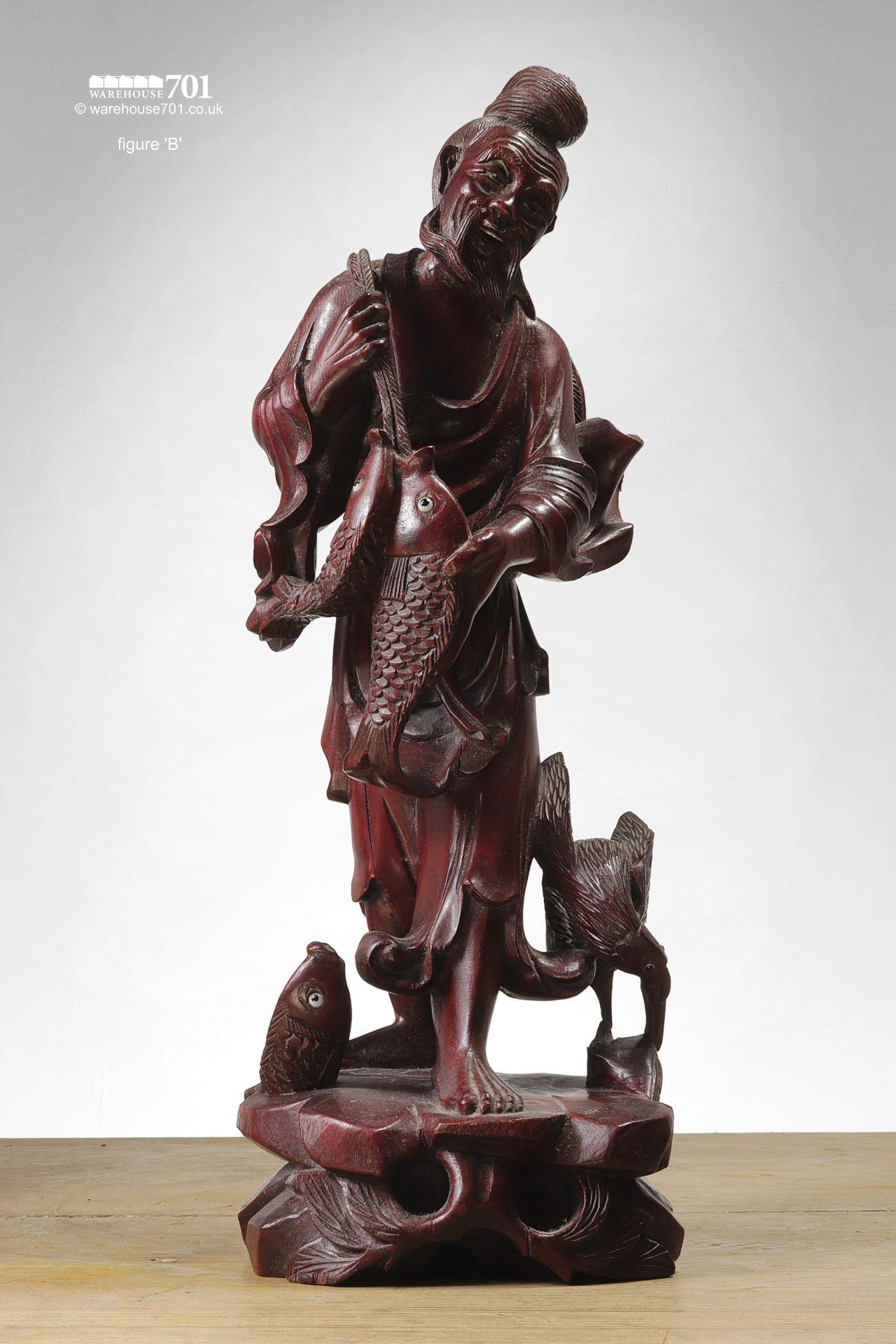 Hand Carved Chinese Sage, Deities or Immortal Figures #3