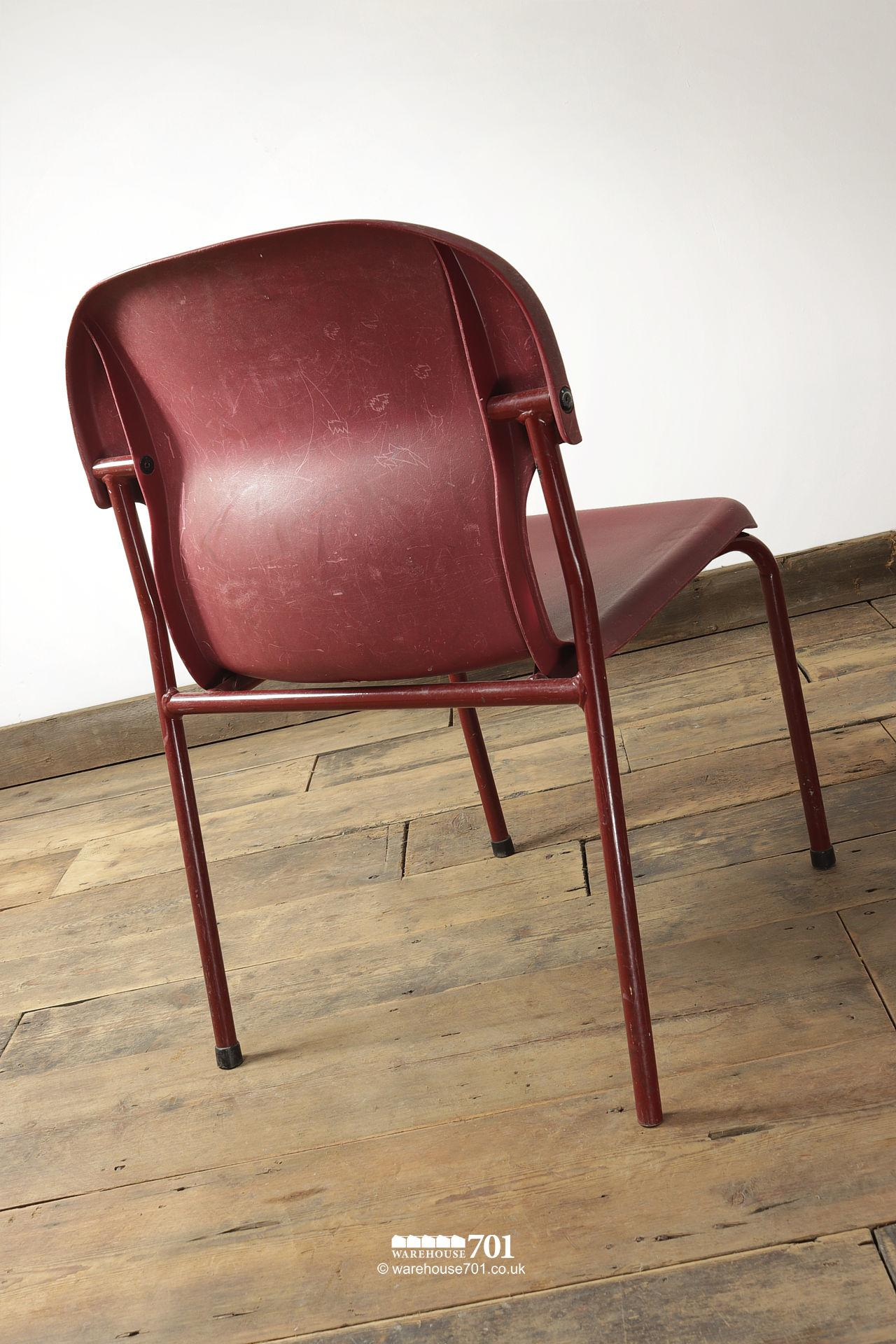 Vintage Burgundy Tubular Steel and Plastic Stacking Chairs #5