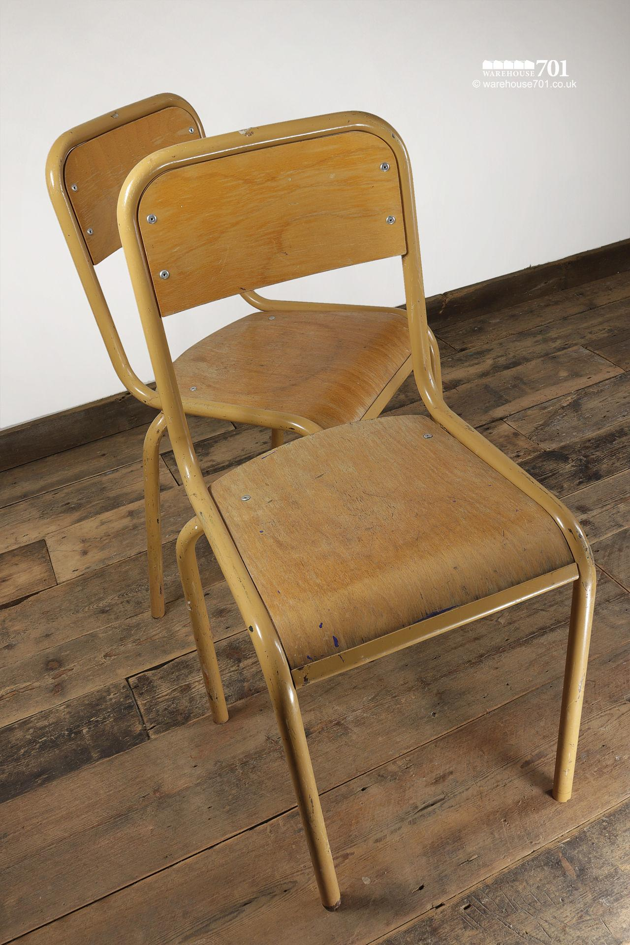 Pair Yellow old Tube Steel and Ply Stacking Chairs #3