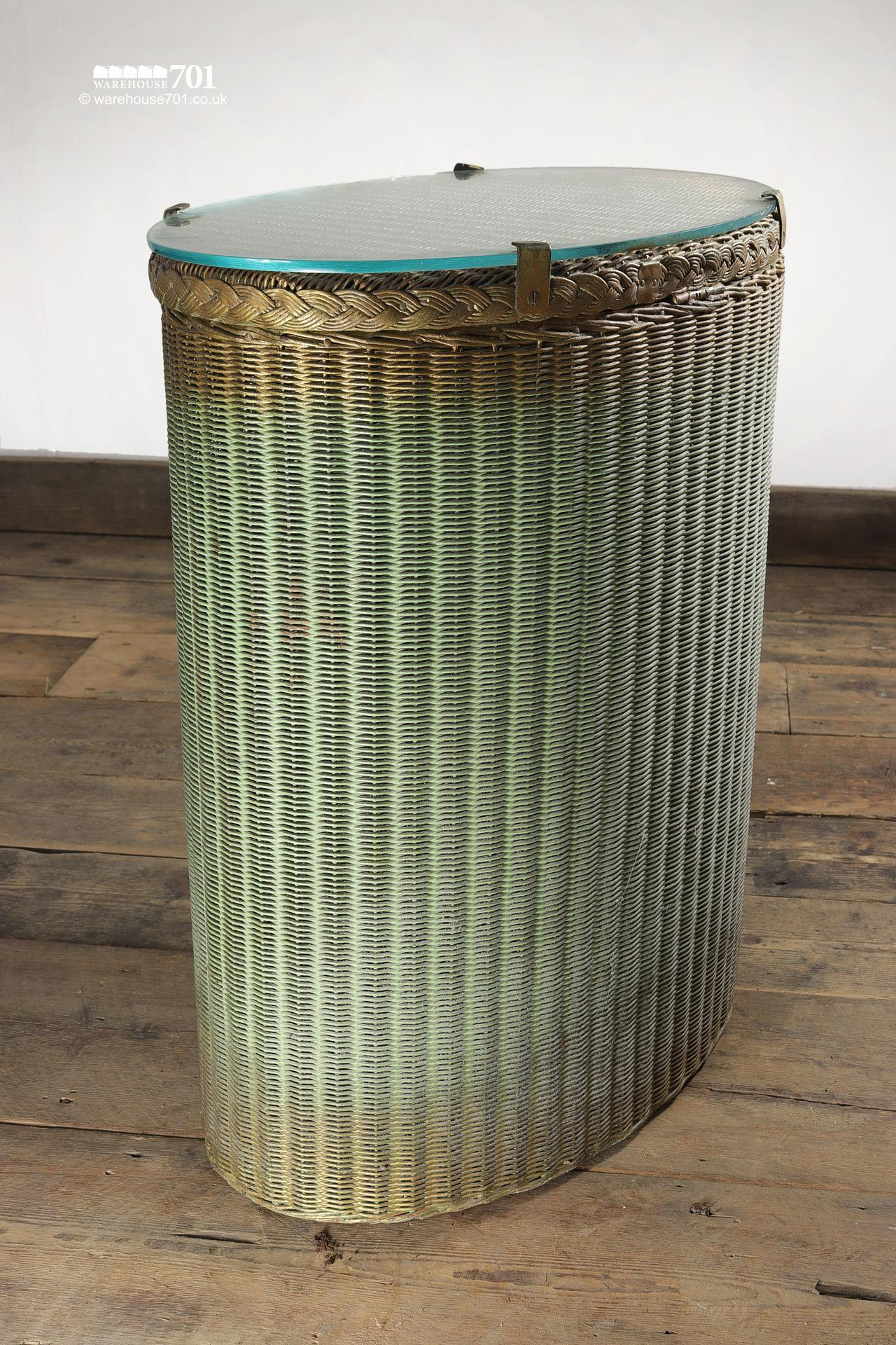 Vintage Elliptical Green Gold Glass Top Laundry Basket #2