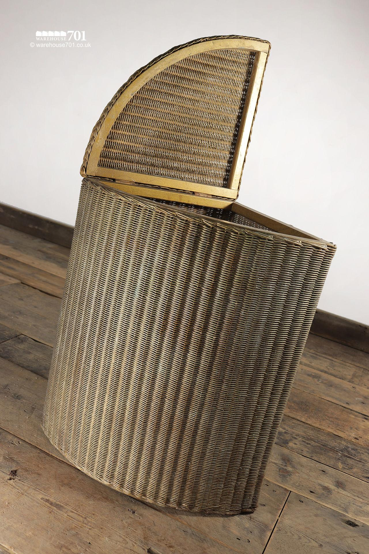 Authentic Period Gold Lloyd Loom Quadrant Laundry Basket #4