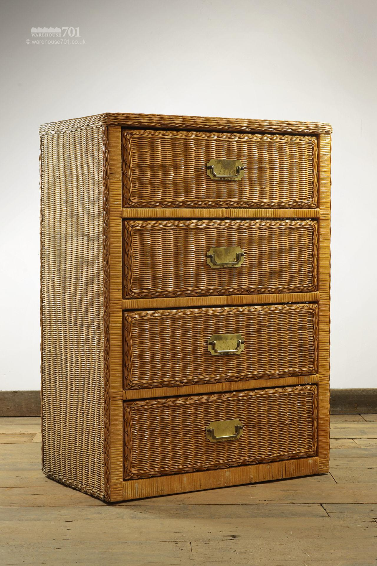 Pair of Vintage Style Wicker Chest of Drawers
