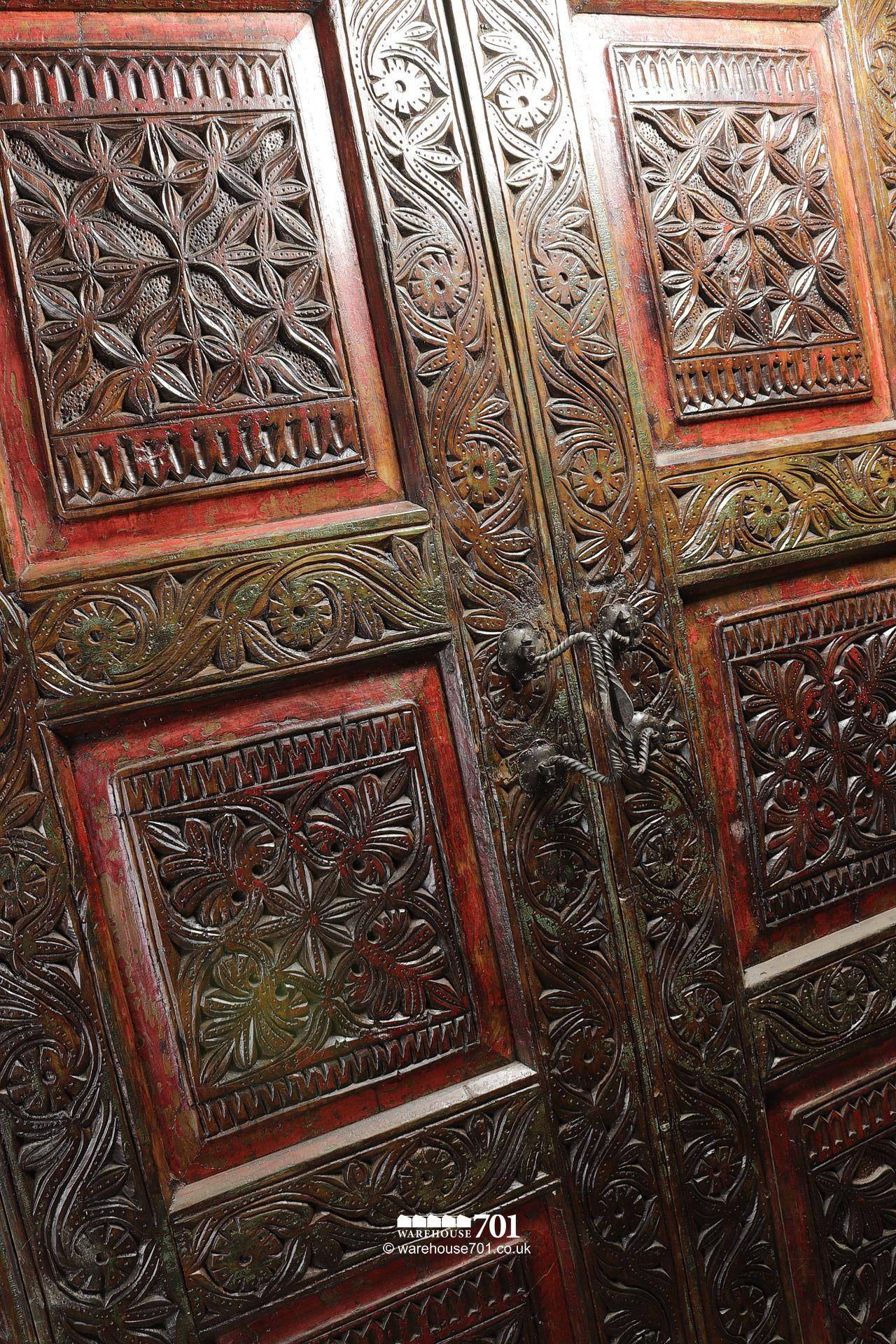 Grand Hand-Carved Wood Armoire or Cupboard #2