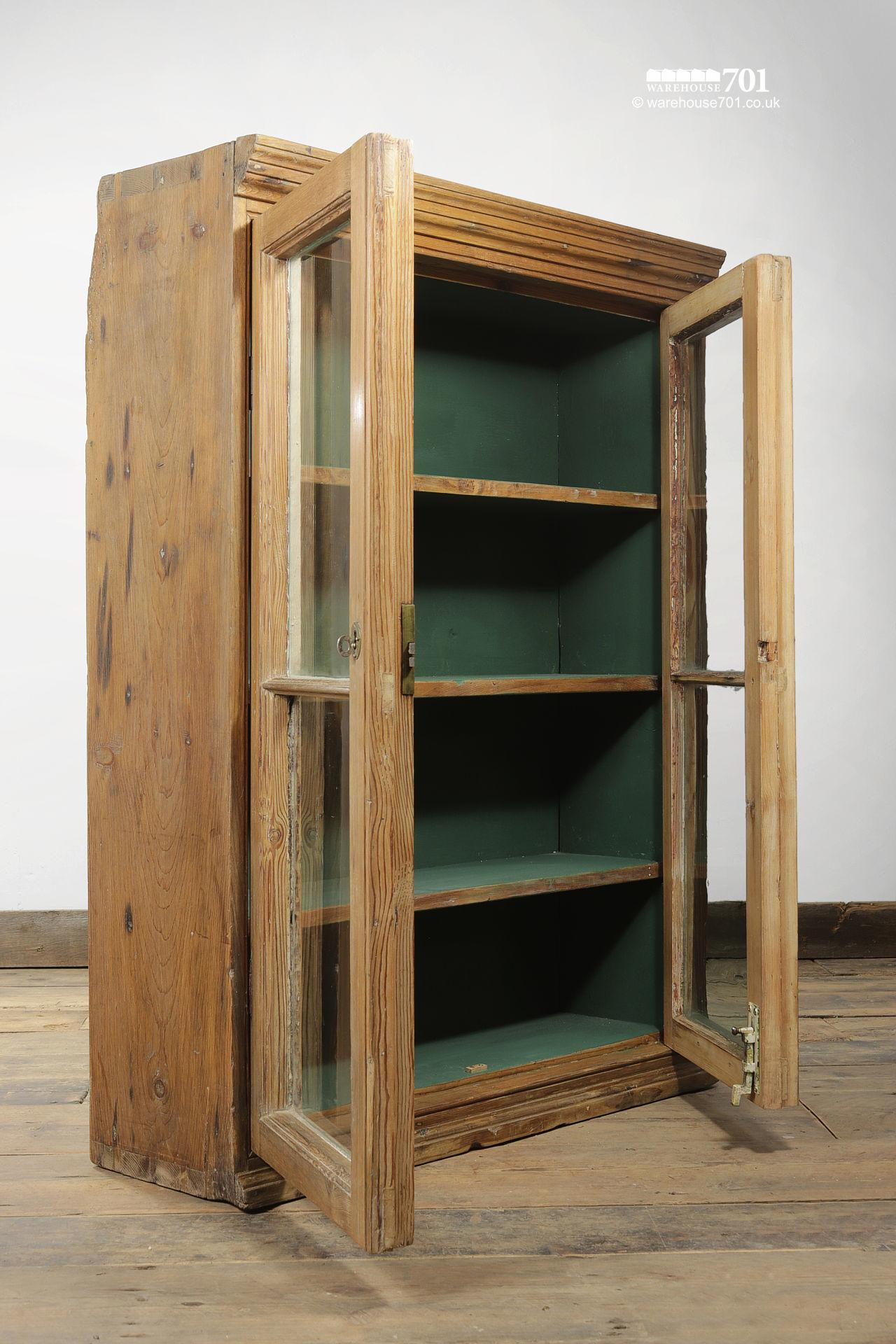 Green Interior Antique Pine Glazed Display Cabinet #2