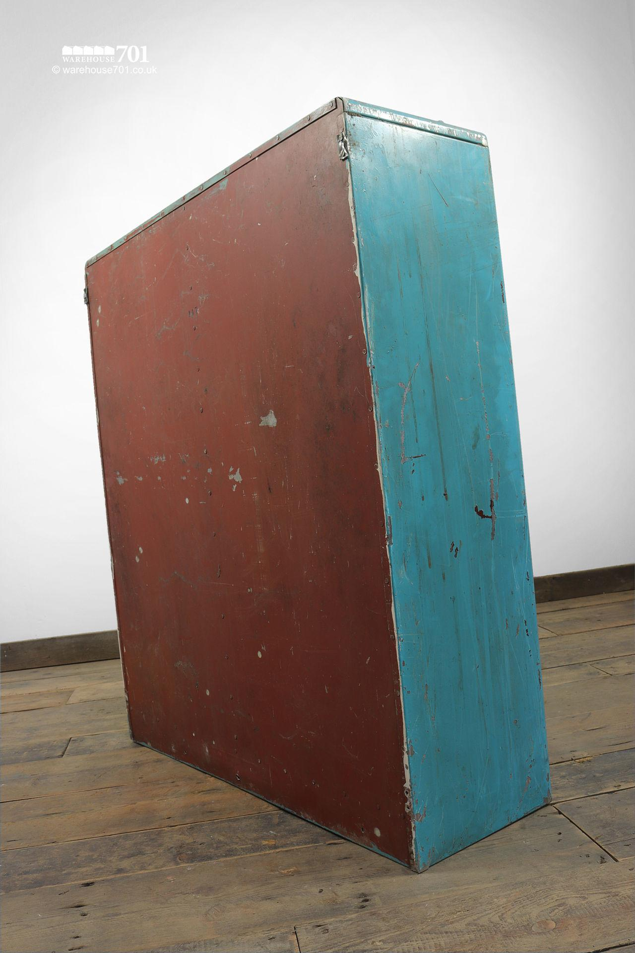 Salvaged Glazed Blue All-Metal Workshop Cabinet #6