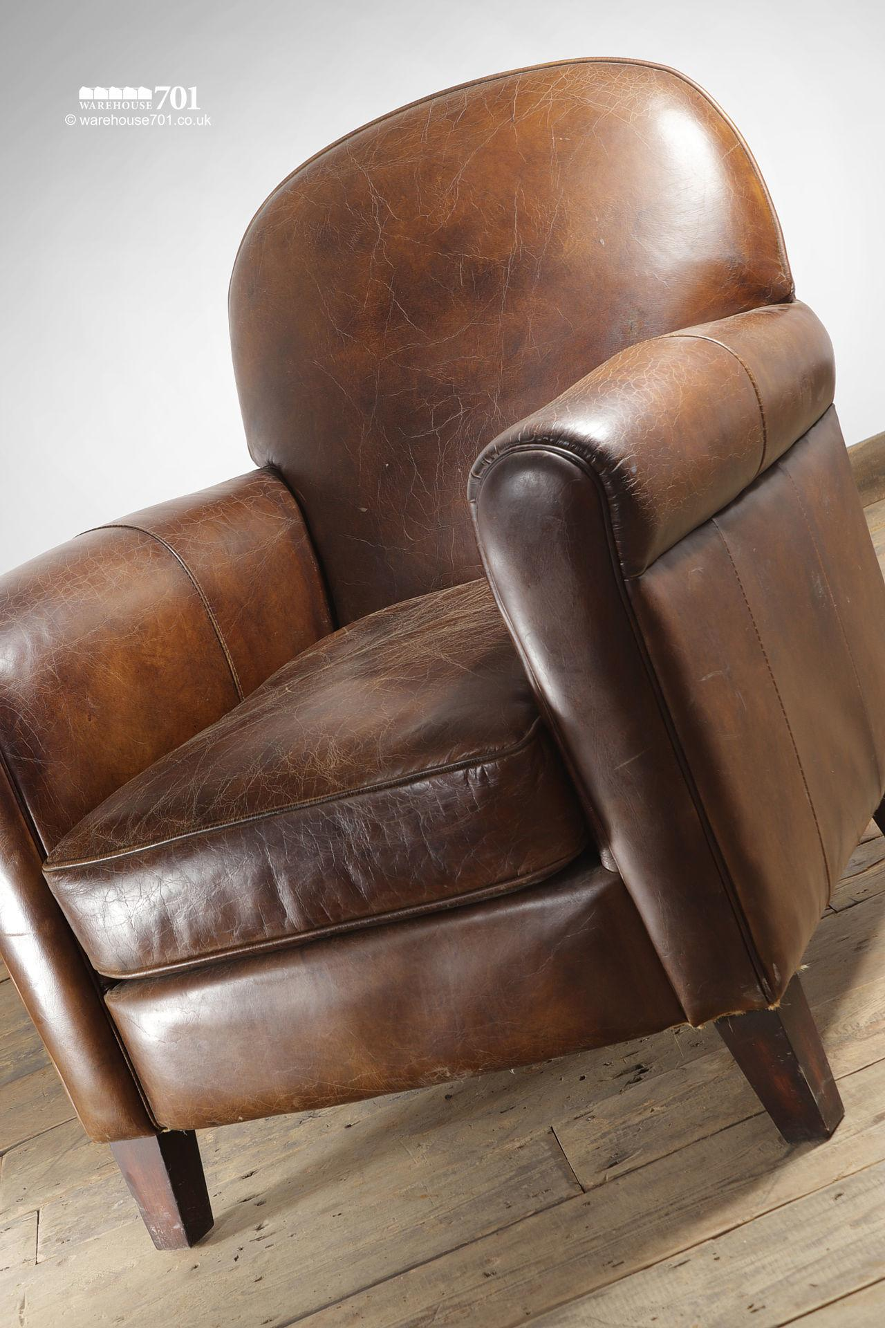 Beautifully Pre-Aged Tan Leather Armchair with Rounded Arms and Back #2