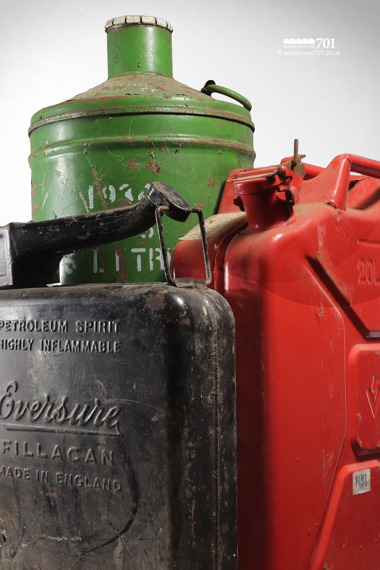 Assorted Salvaged Jerry Cans and Fuel and Oil Cans