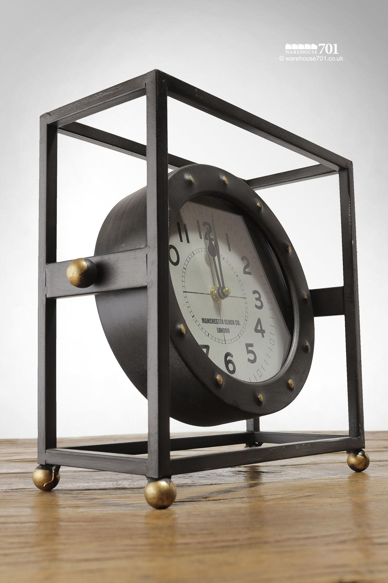 New Pivoting Framed or Cradled Industrial Style Freestanding Clock #4