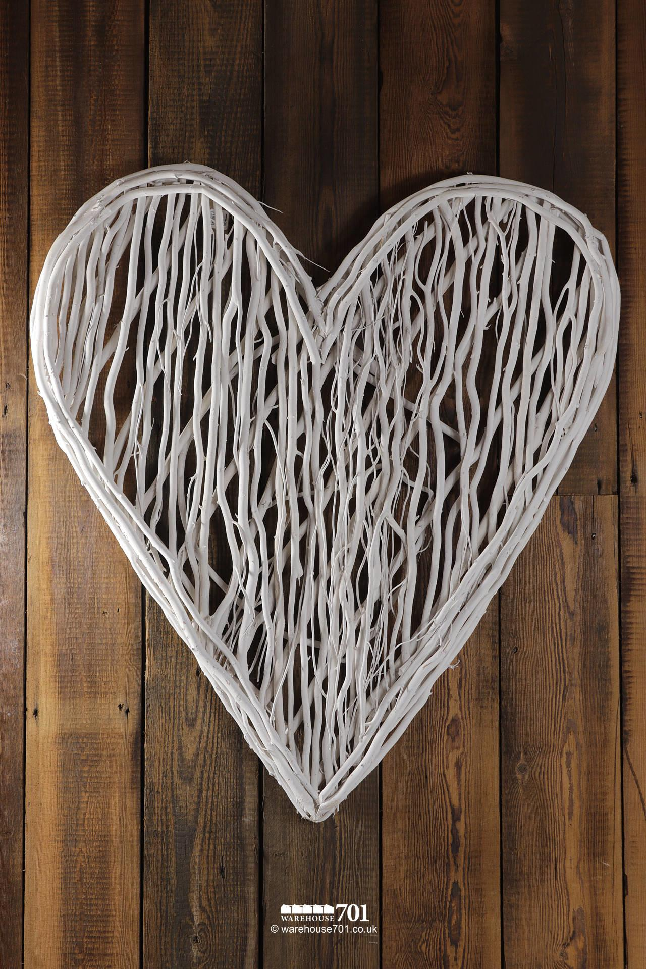 New Large Organic White Painted Stick Heart Wall Display #2