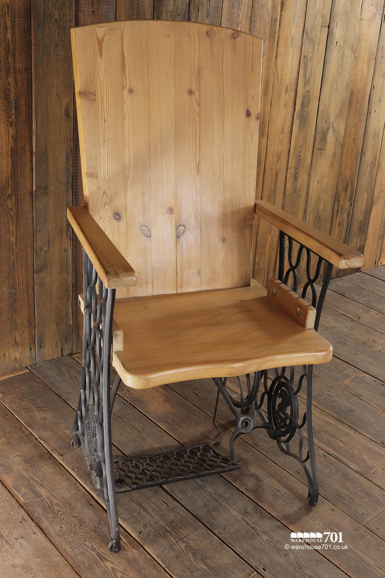 Handmade Chair with Authentic Singer Sewing Machine Treadle Frame #7
