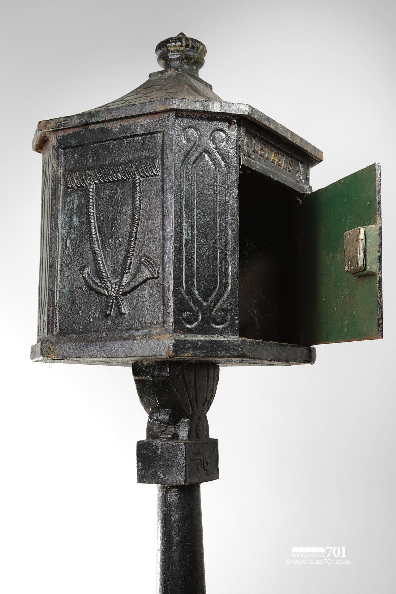 Salvaged Cast Iron Letterbox or Post Box on a Plinth #4