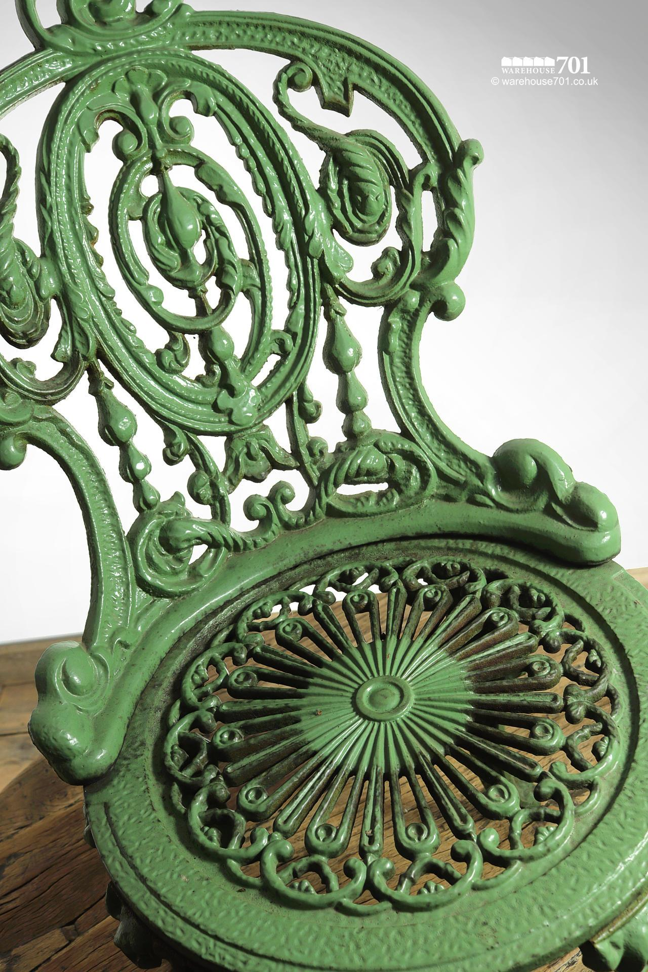 Fabulous Authentic Period Very Heavy Cast Iron Green Garden Chair #3