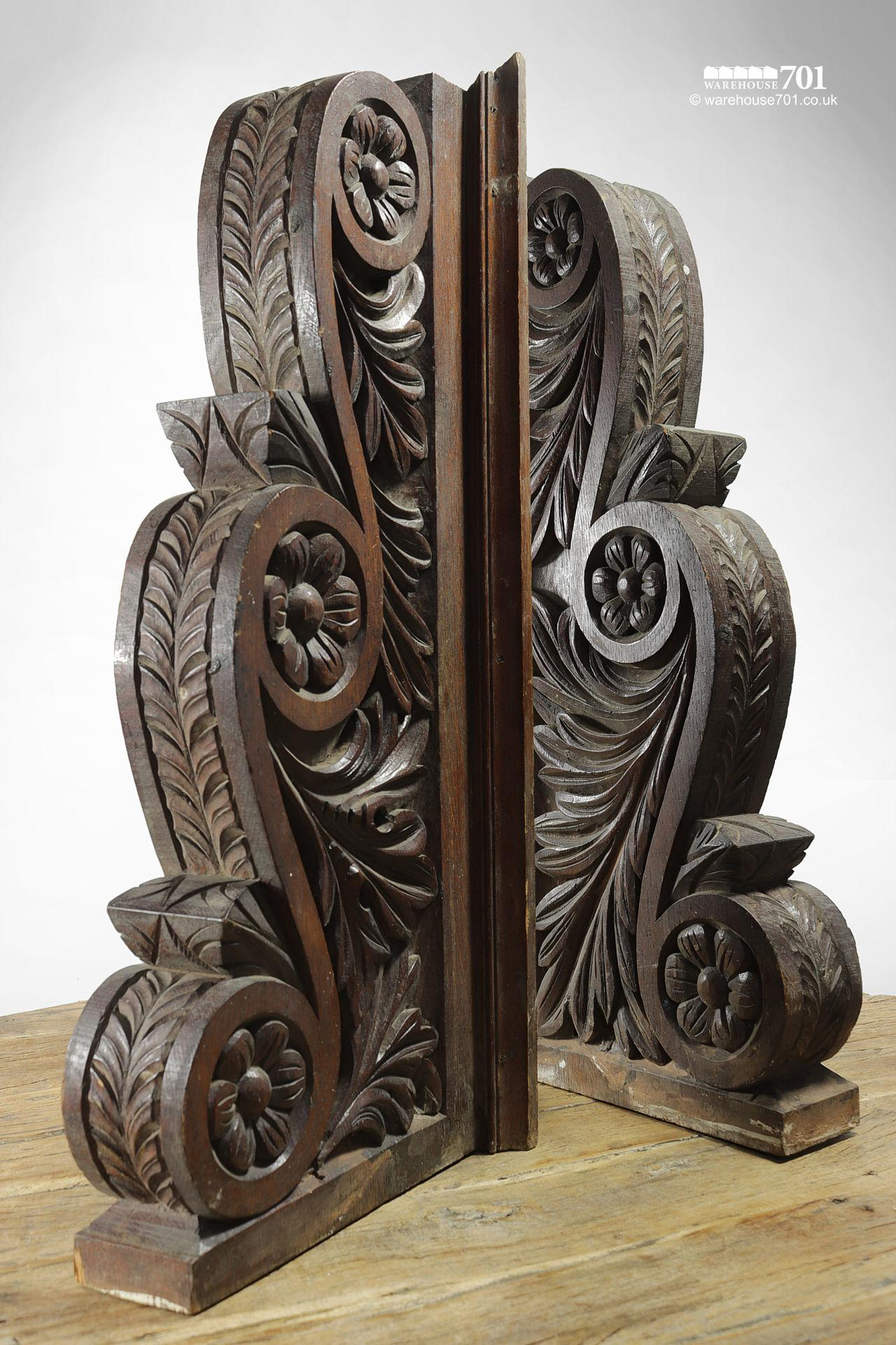 A Pair of Beautiful Very Large Hand Carved Oak Decorative Corbels