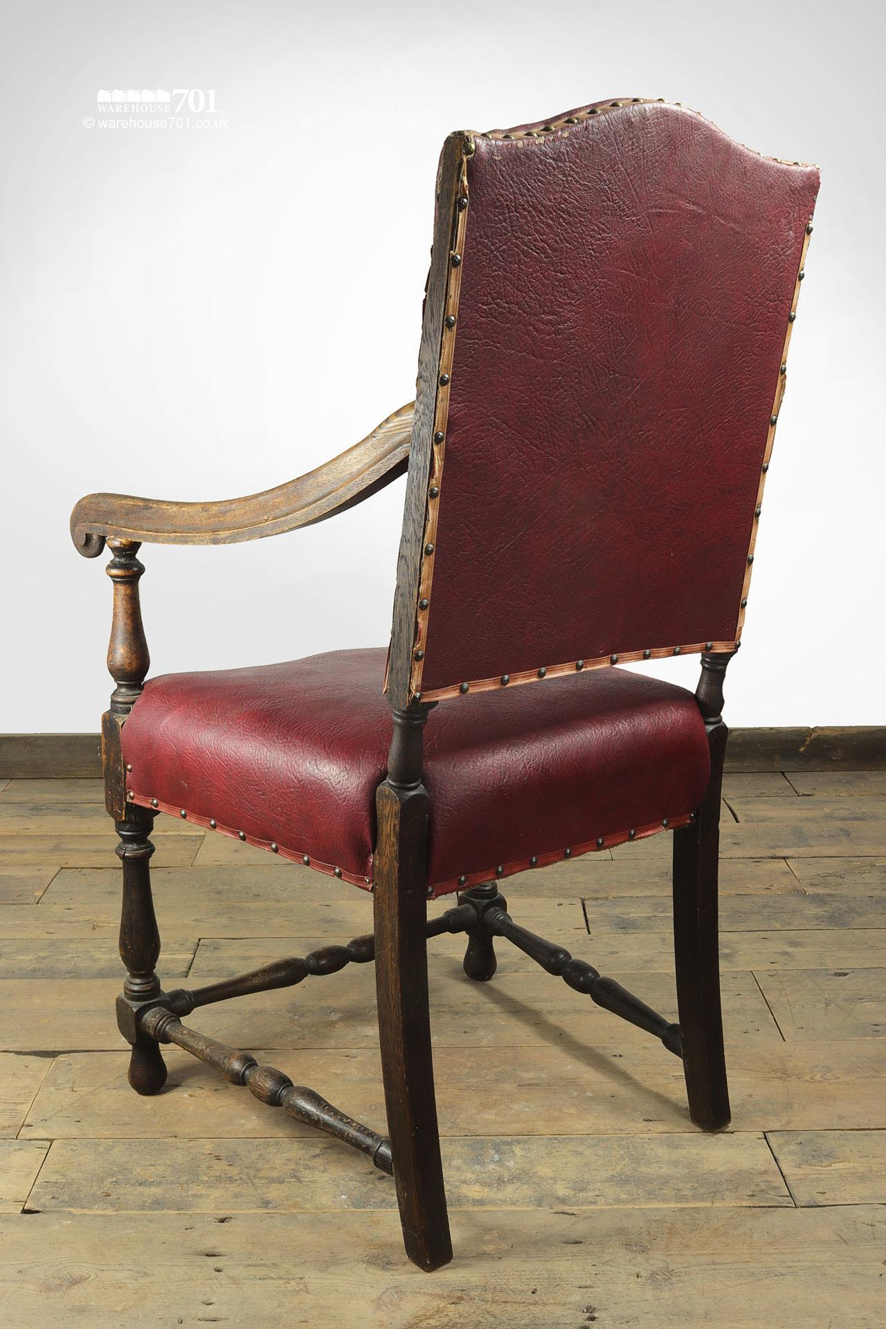 Grand Old Red leather and Oak Hallway or Armchair #4