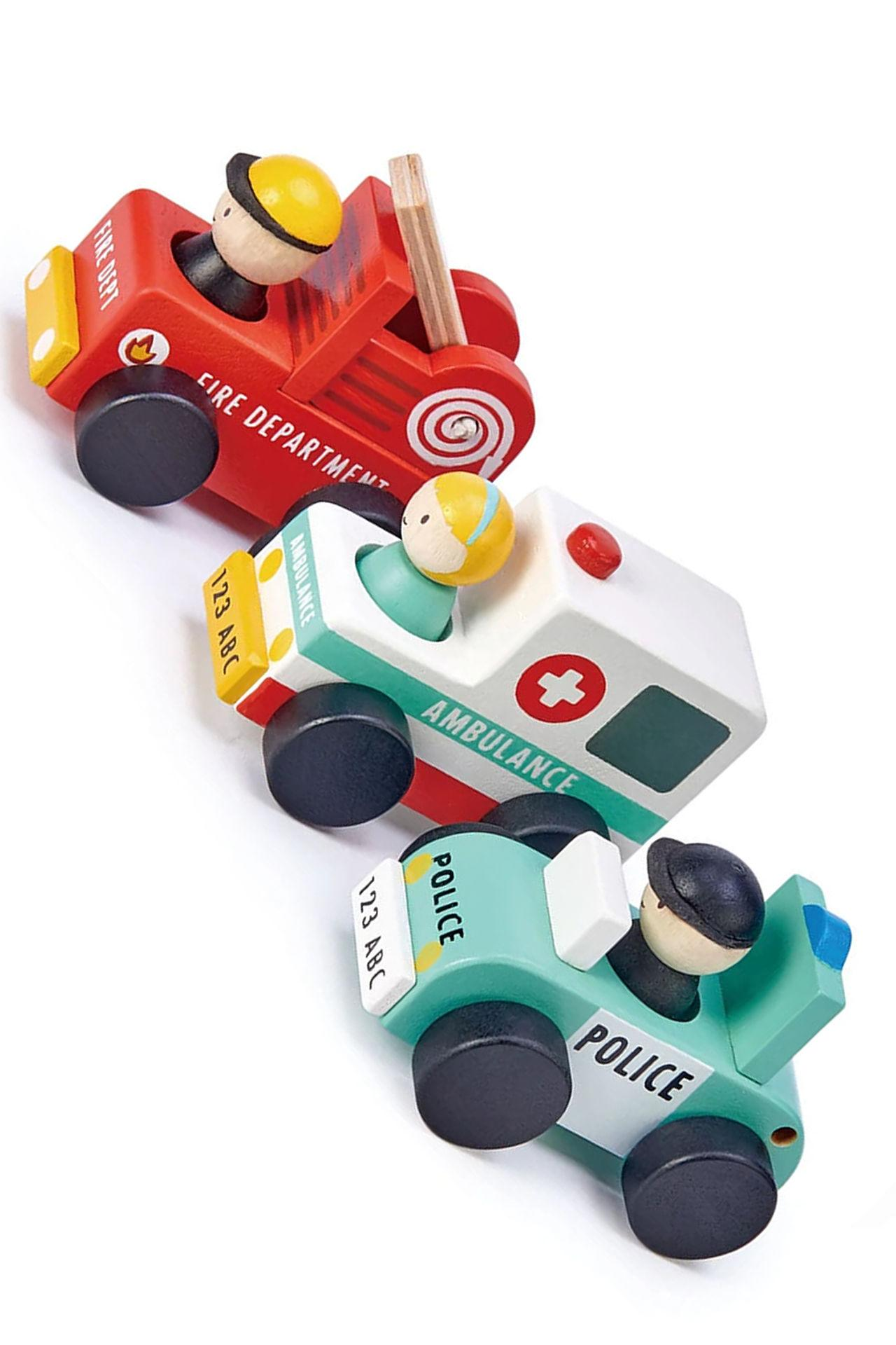 New Wooden Emergency Vehicles- Set of Three