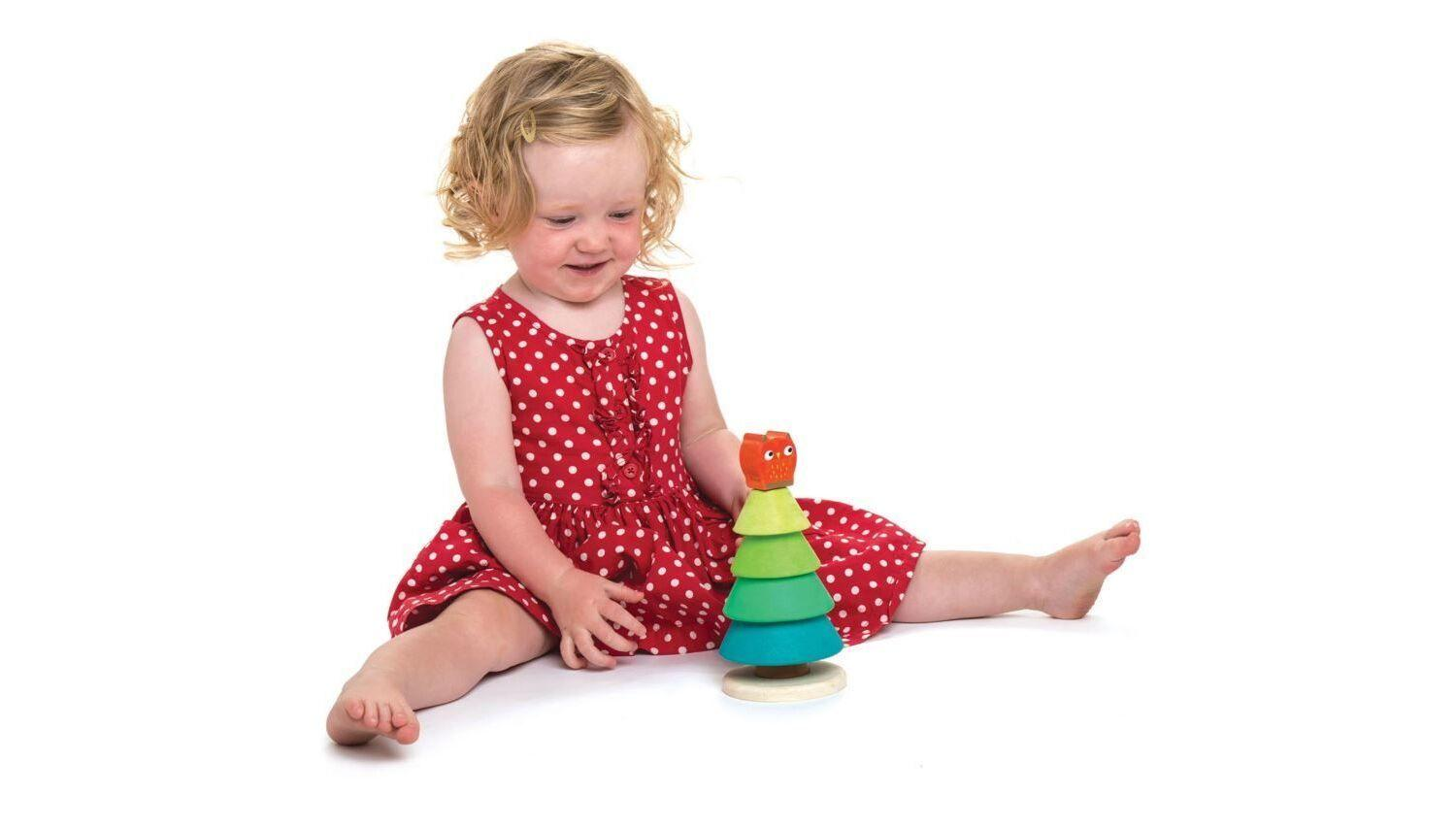 New Wooden Toy Stacking Fir Tree Topped with a Red Owl