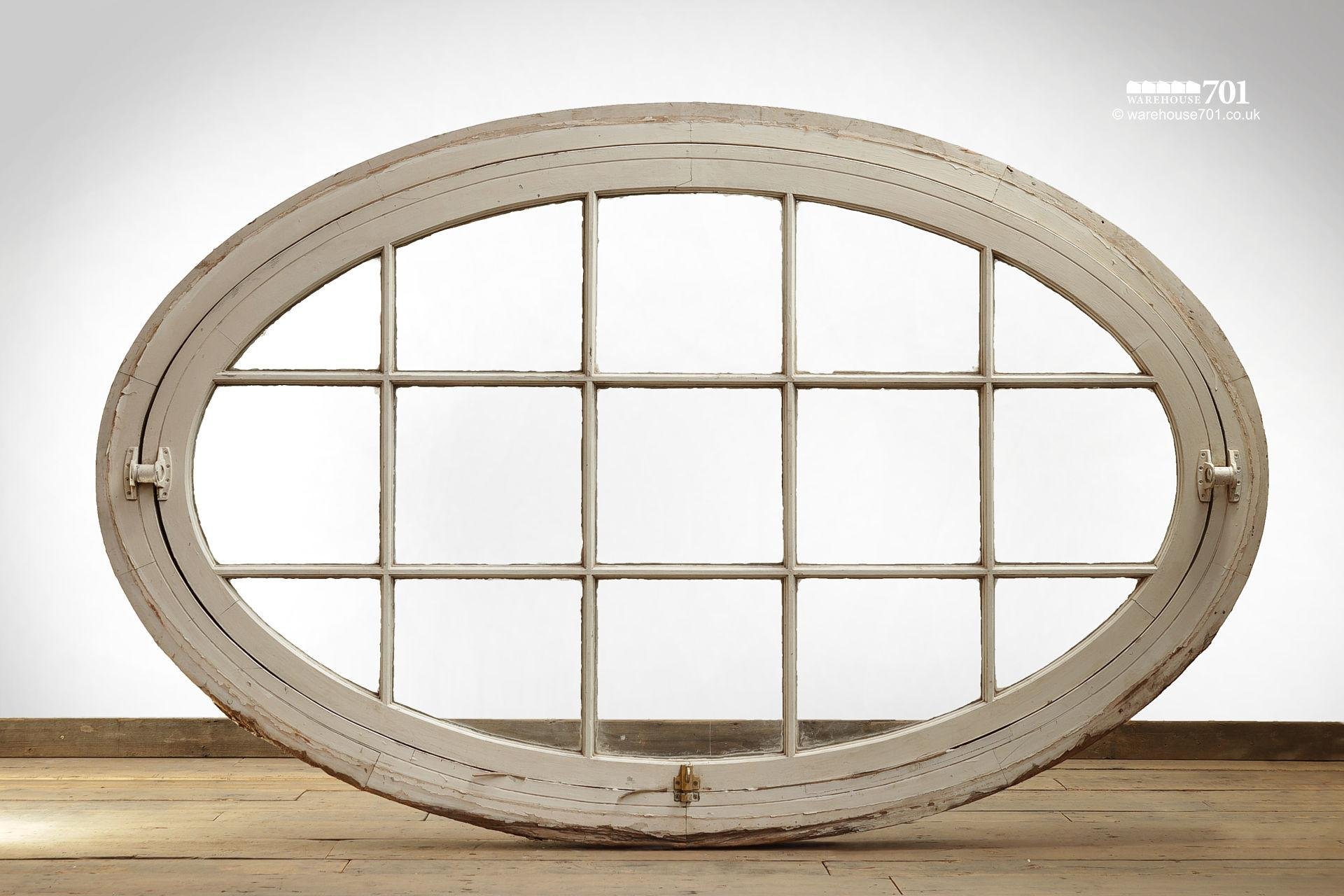 Very Large Old Oval Opening Wood Window #2