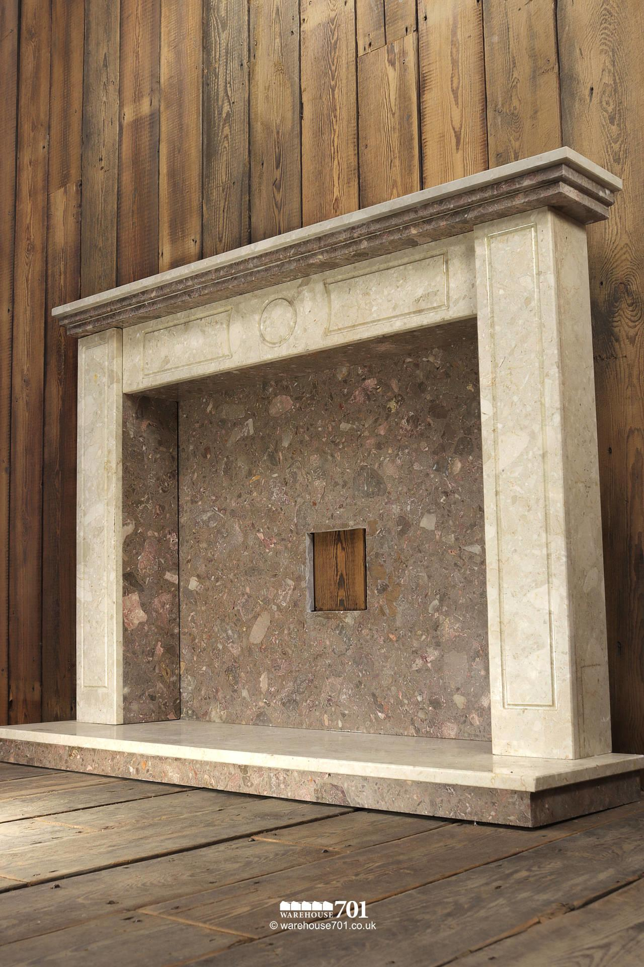 Reclaimed Marble Fire Surround, Mantle, Hearth and Inset #2