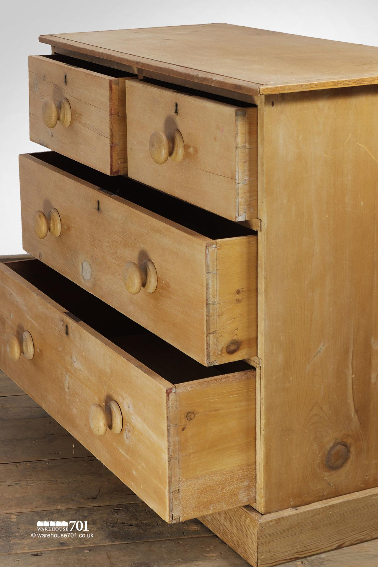 Old Four Drawer Honey Pine Chest of Drawers #5