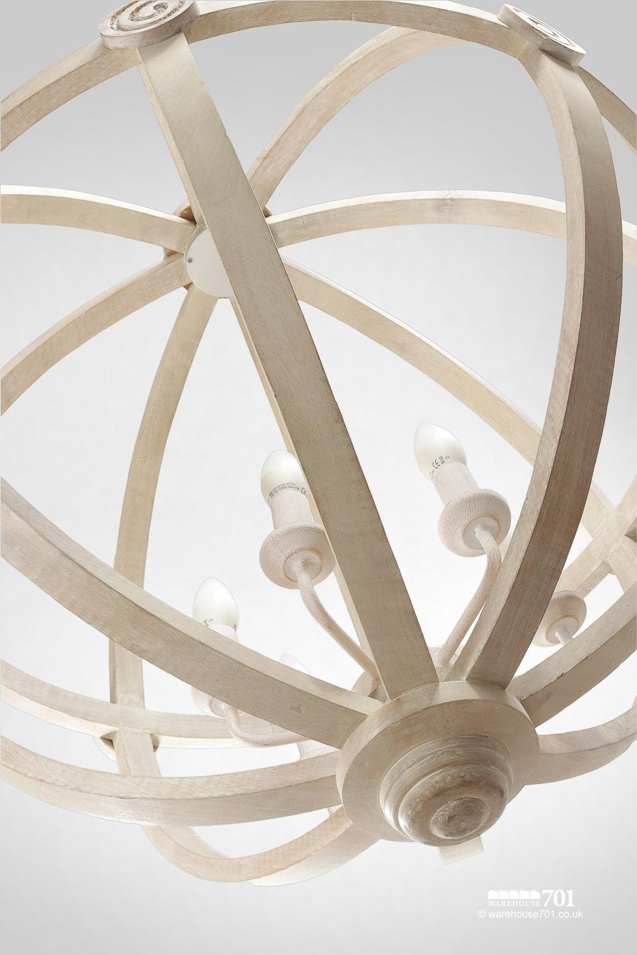New Large Cream Colour Wood Orb Ceiling Light