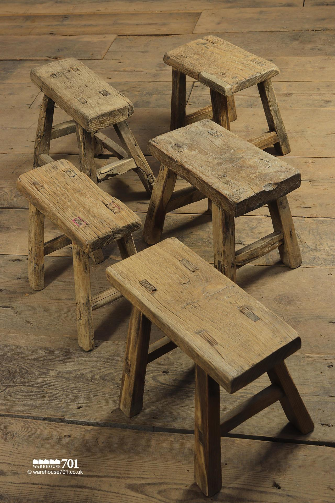 Reclaimed Elm Small Three and Four legged Milking Stools #3
