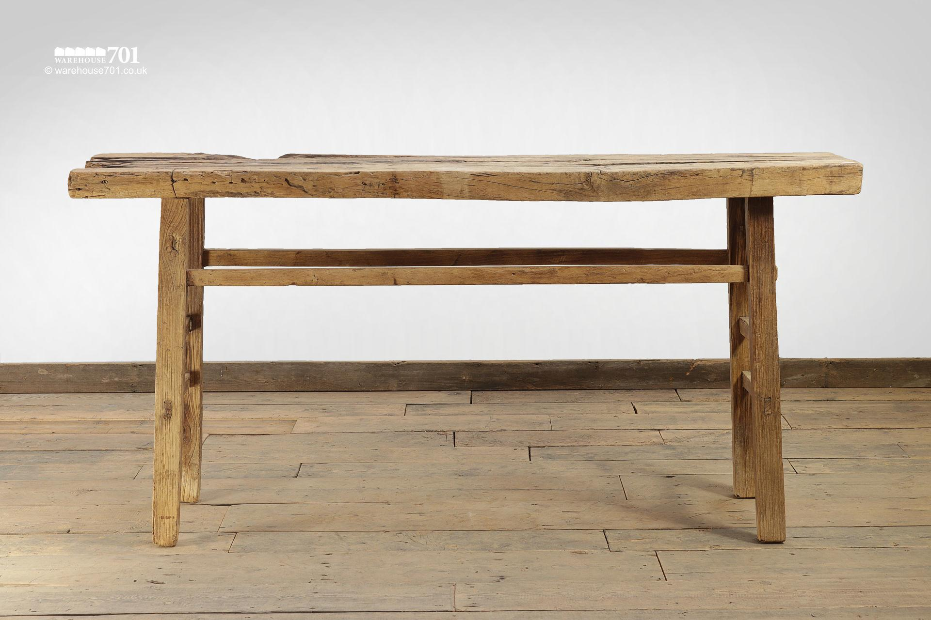 Reclaimed Elm Light Wood Console Table #3
