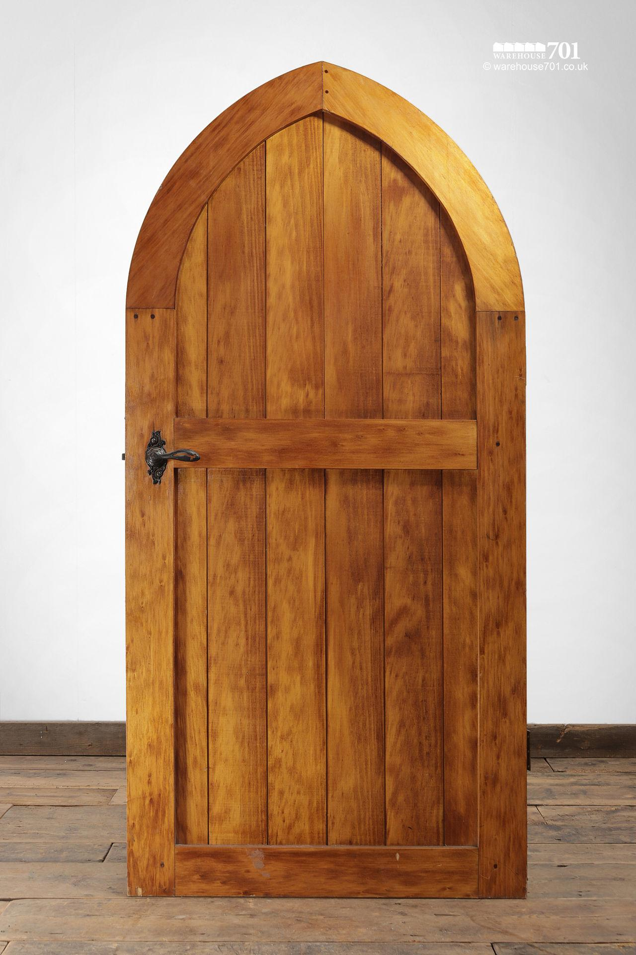 Small Wood Plank Arched Top Chapel Door #5