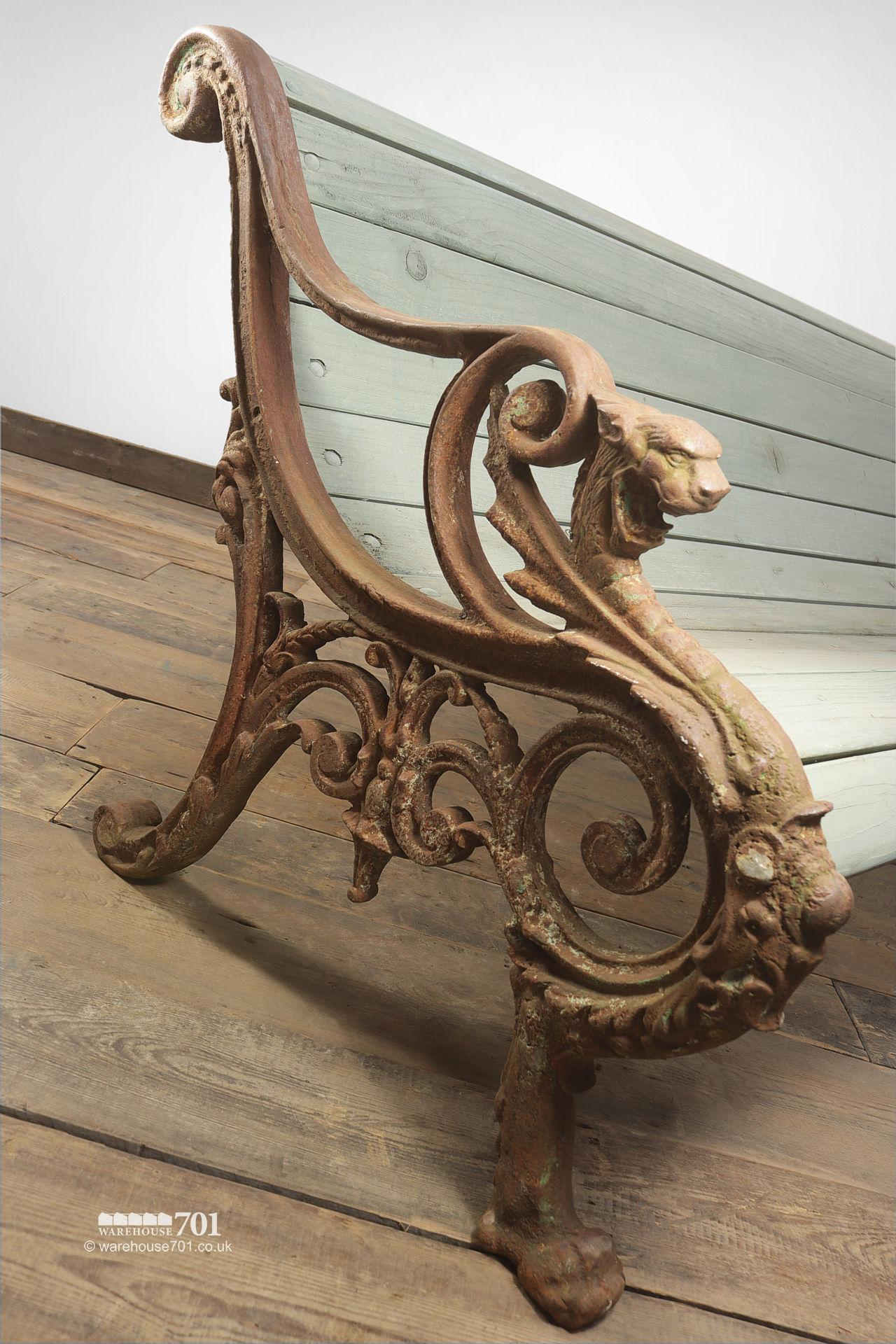 Stunning Reclaimed Cast Iron Dragon Bench #5