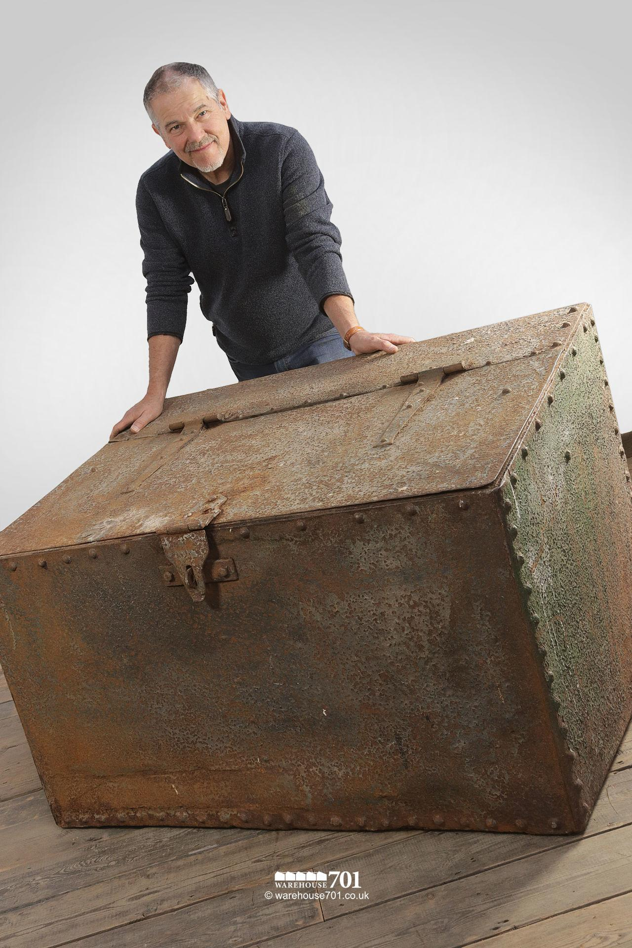 Large Green Reclaimed Riveted Double Feed Bin #3