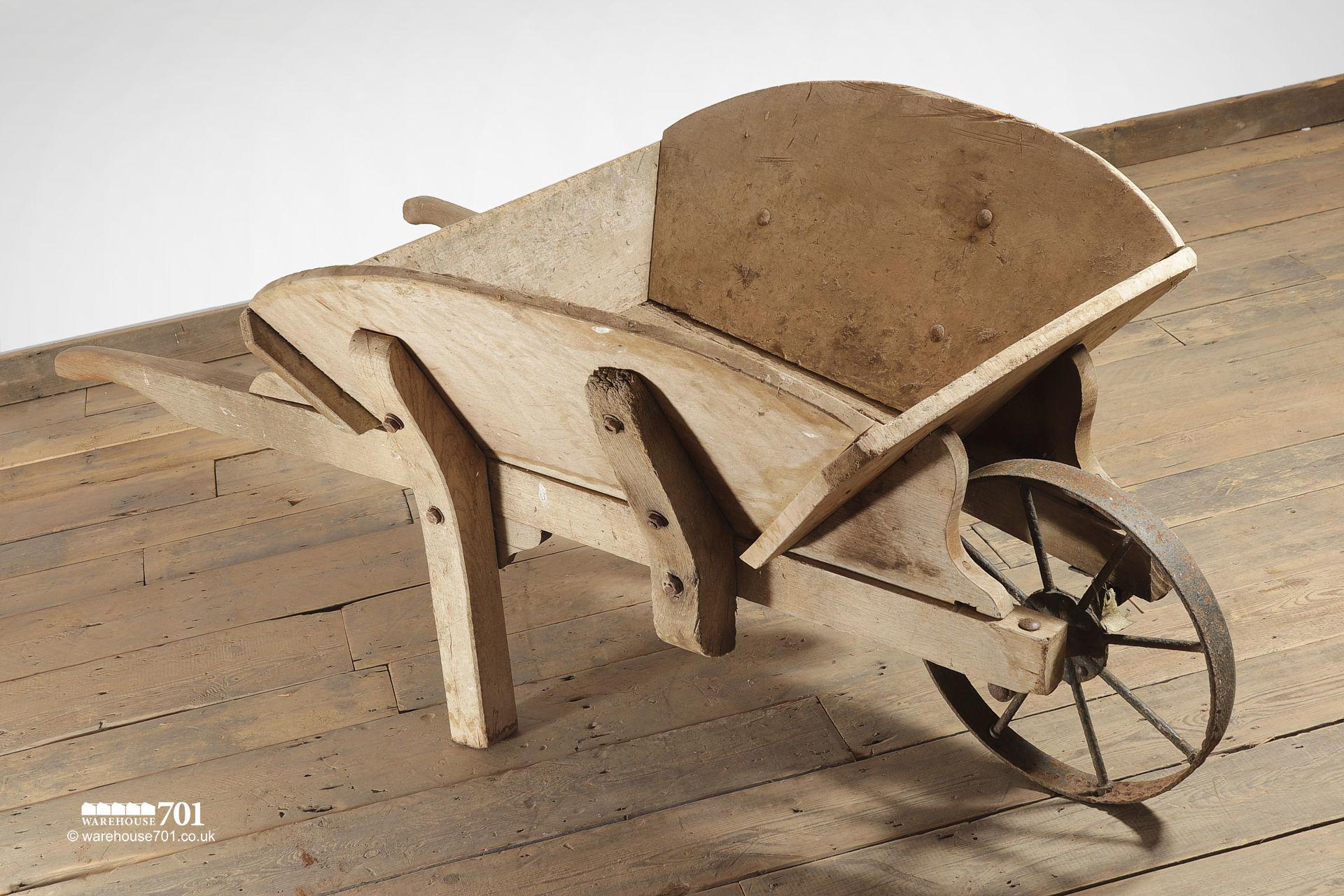 Salvaged Old-Fashioned Wood Wheelbarrow with Iron Wheel #2