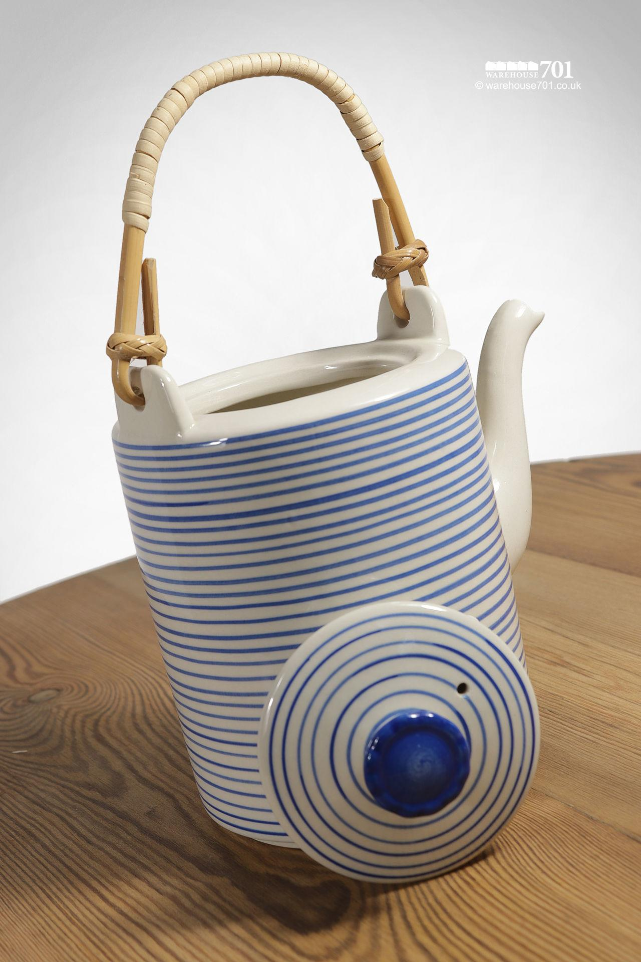 Blue and White Banded Ceramic Teapot with a Woven Bamboo Handle #2