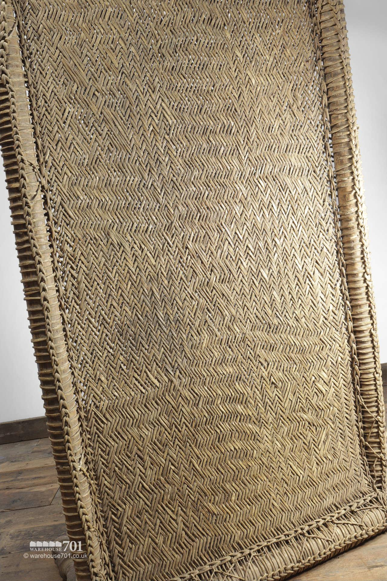 Decorative Wood and Woven Rattan Bed #5