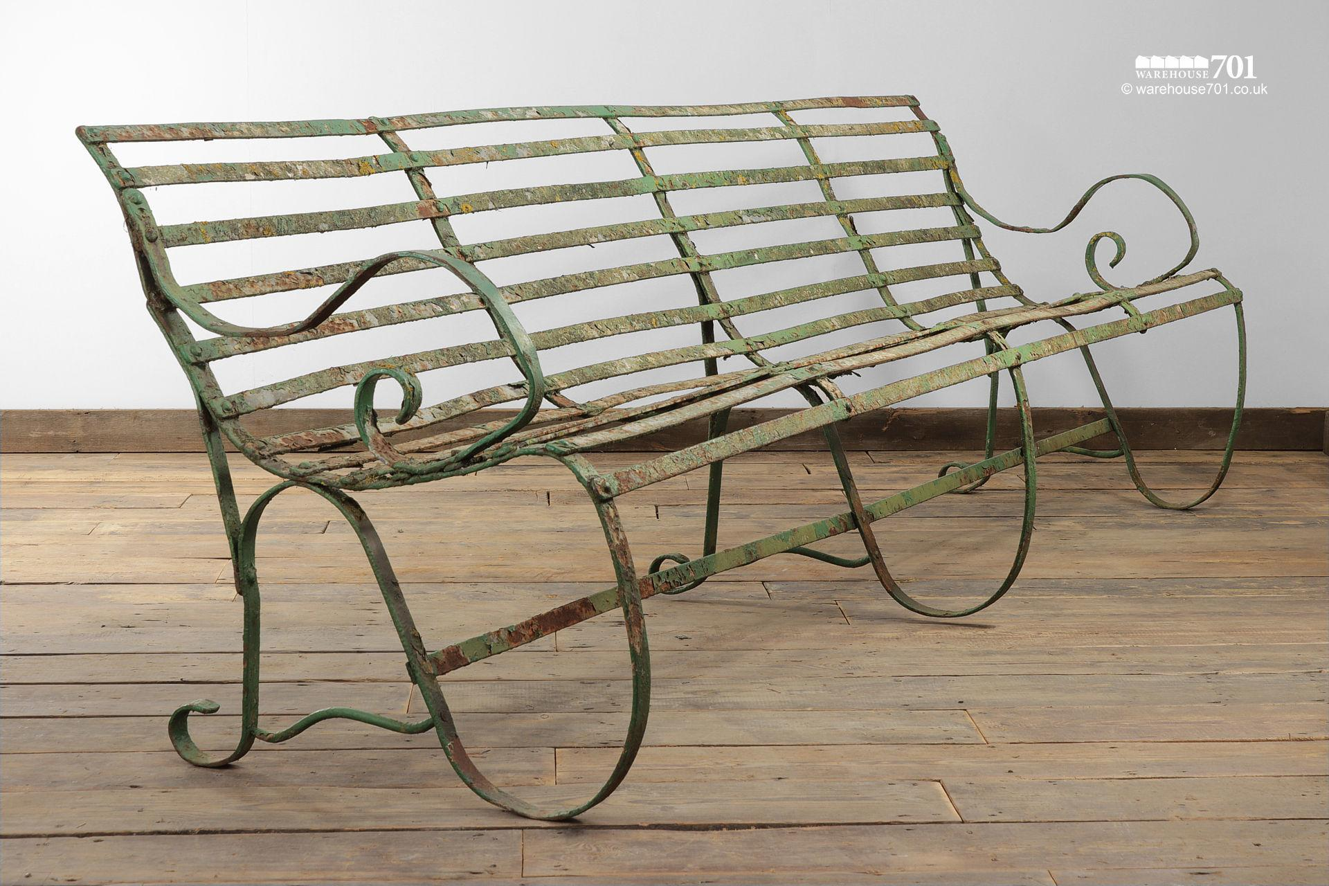 Salvaged Five Seater Metal Strap Park Bench #3
