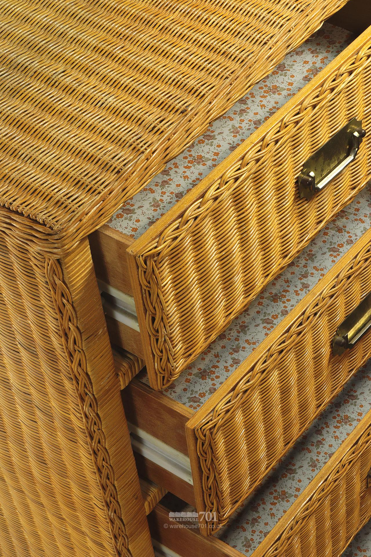 Pair of Vintage Style Wicker Chest of Drawers #2