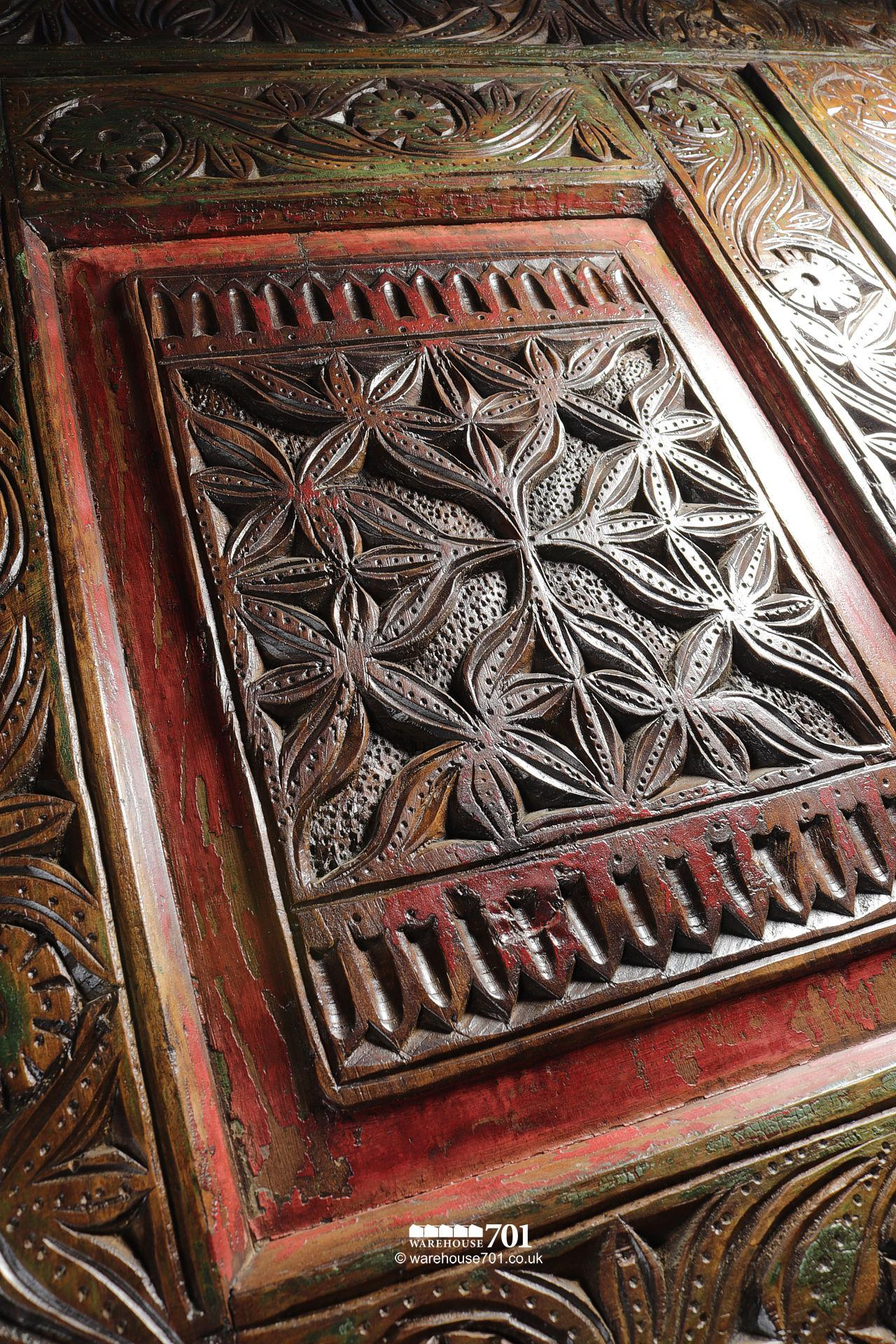 Grand Hand-Carved Wood Armoire or Cupboard #3