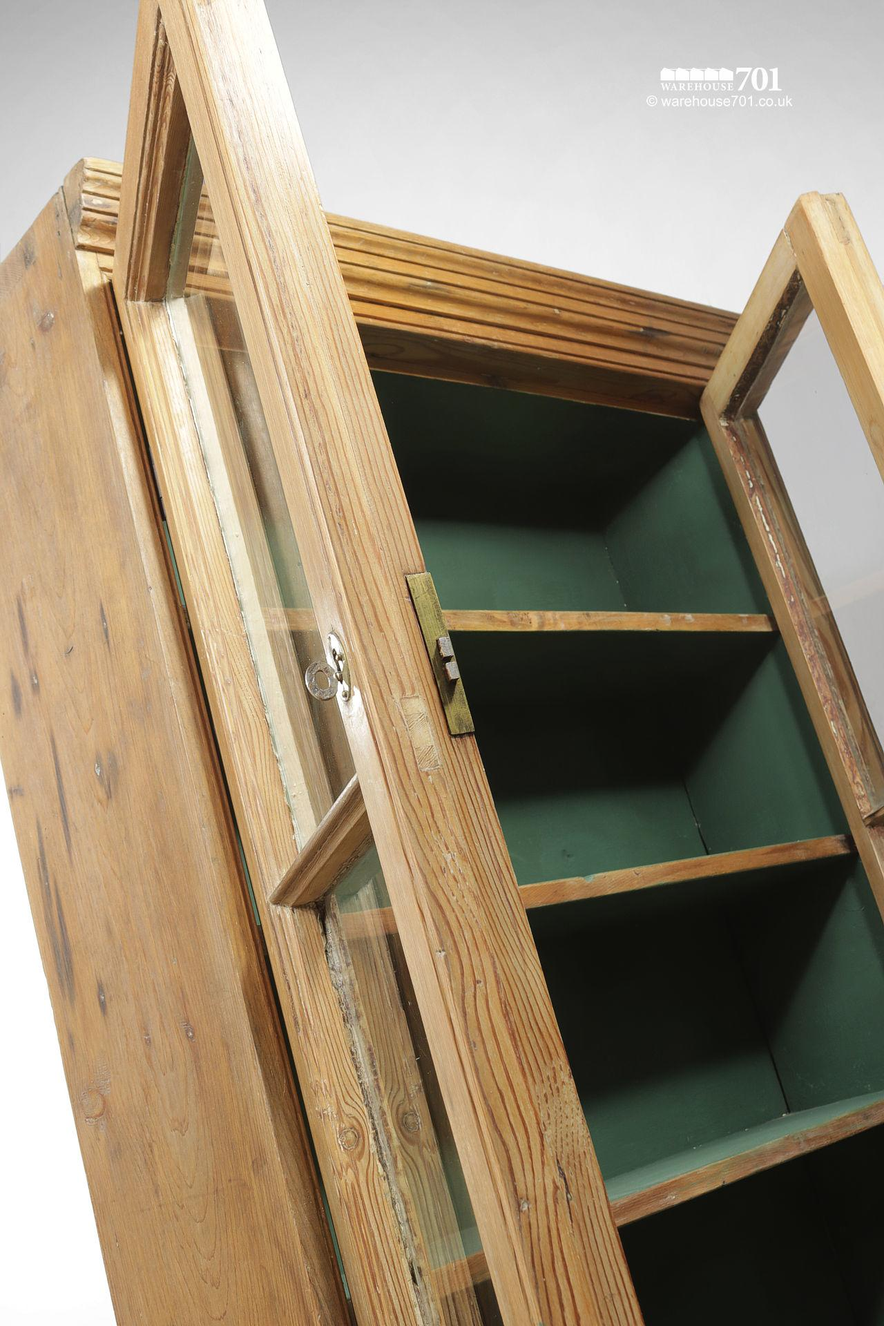 Green Interior Antique Pine Glazed Display Cabinet #3