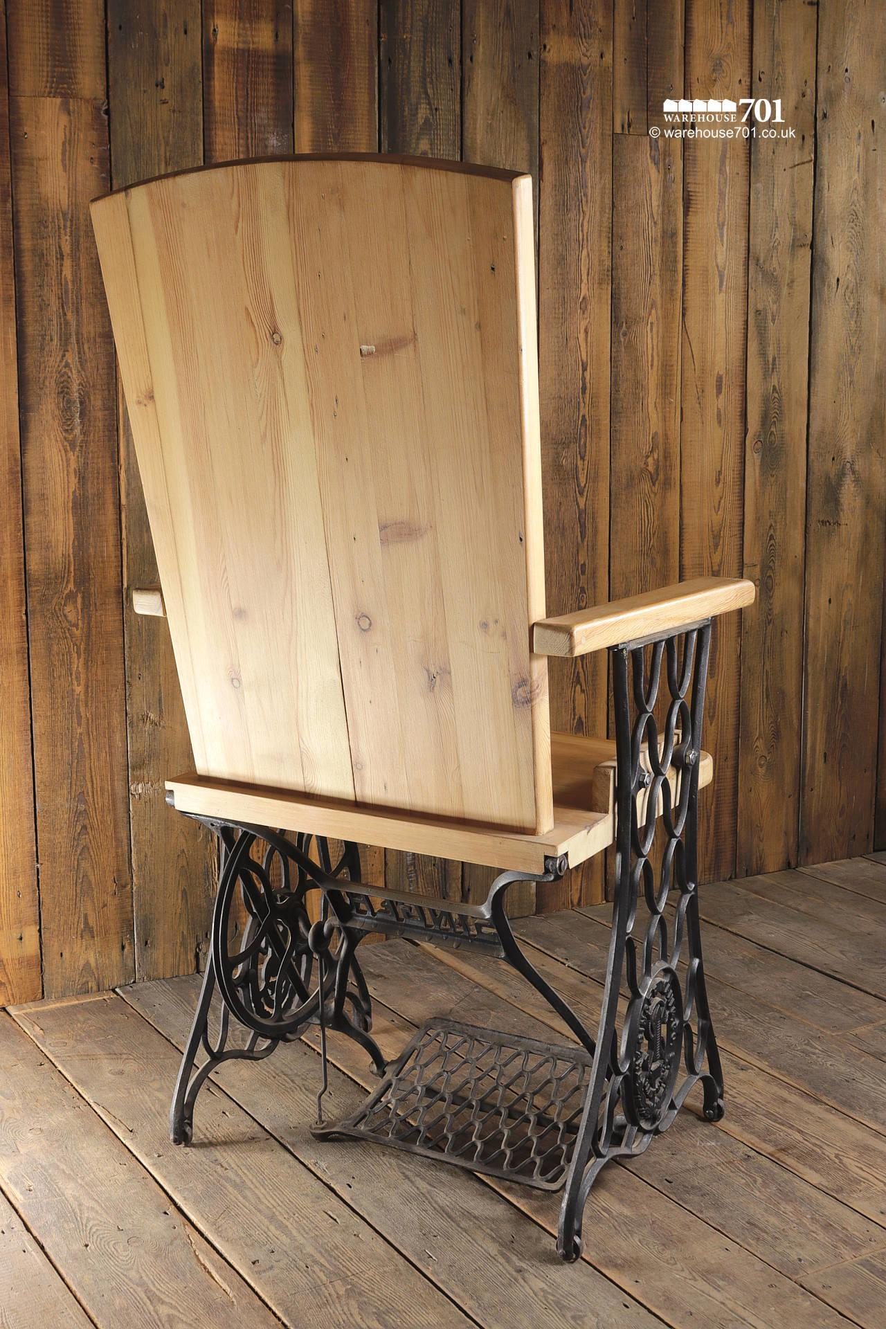 Handmade Chair with Authentic Singer Sewing Machine Treadle Frame #8