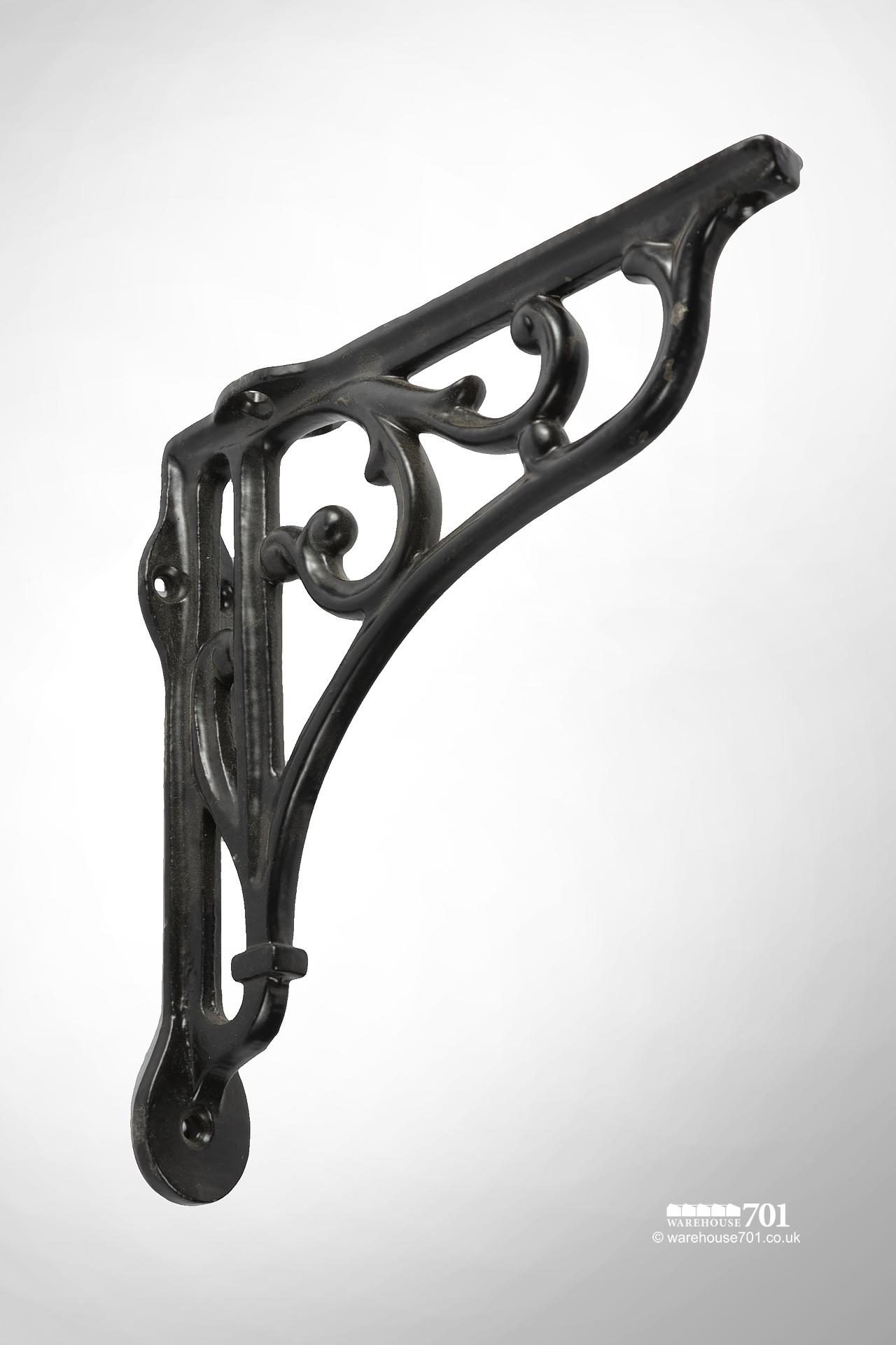 New Satin Black Cast Iron Shelf or Wall Bracket with a Decorative Scroll Design