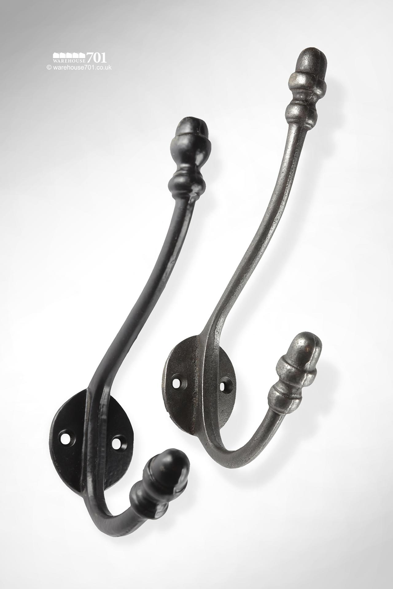 New Cast Iron Large Double Coat Hook with Acorn Finials