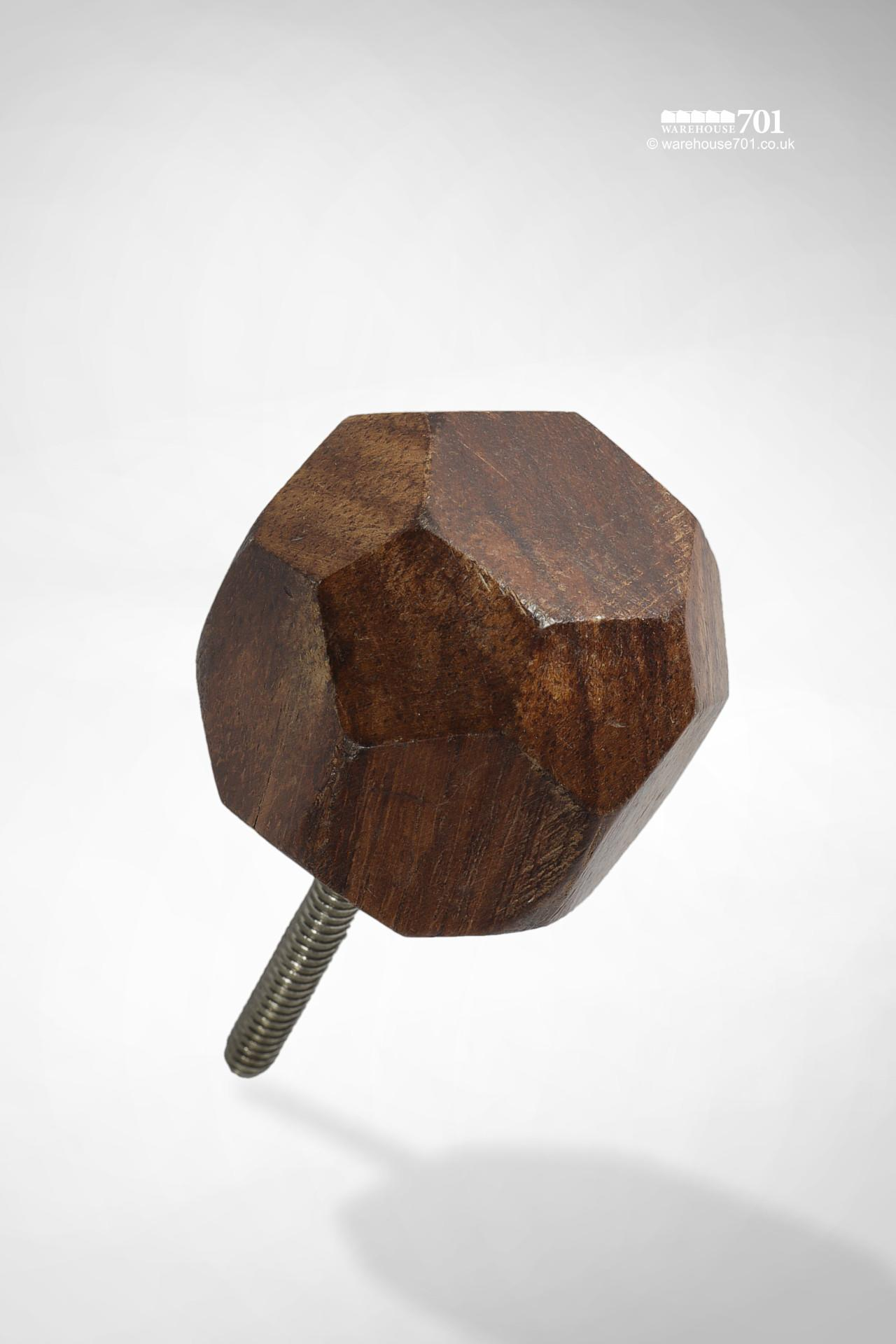 New Faceted Wood Door or Drawer Knob