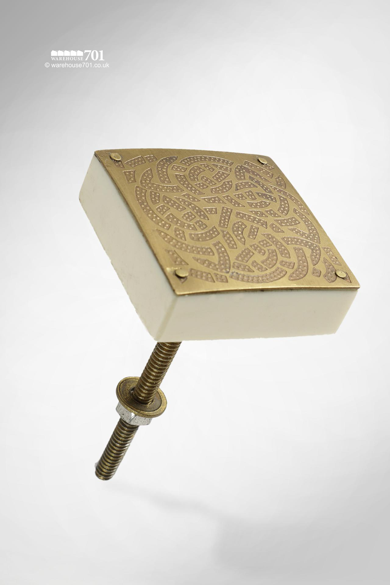 New Embossed and Riveted Brass Pattern Square Door, Drawer or Cupboard Knob
