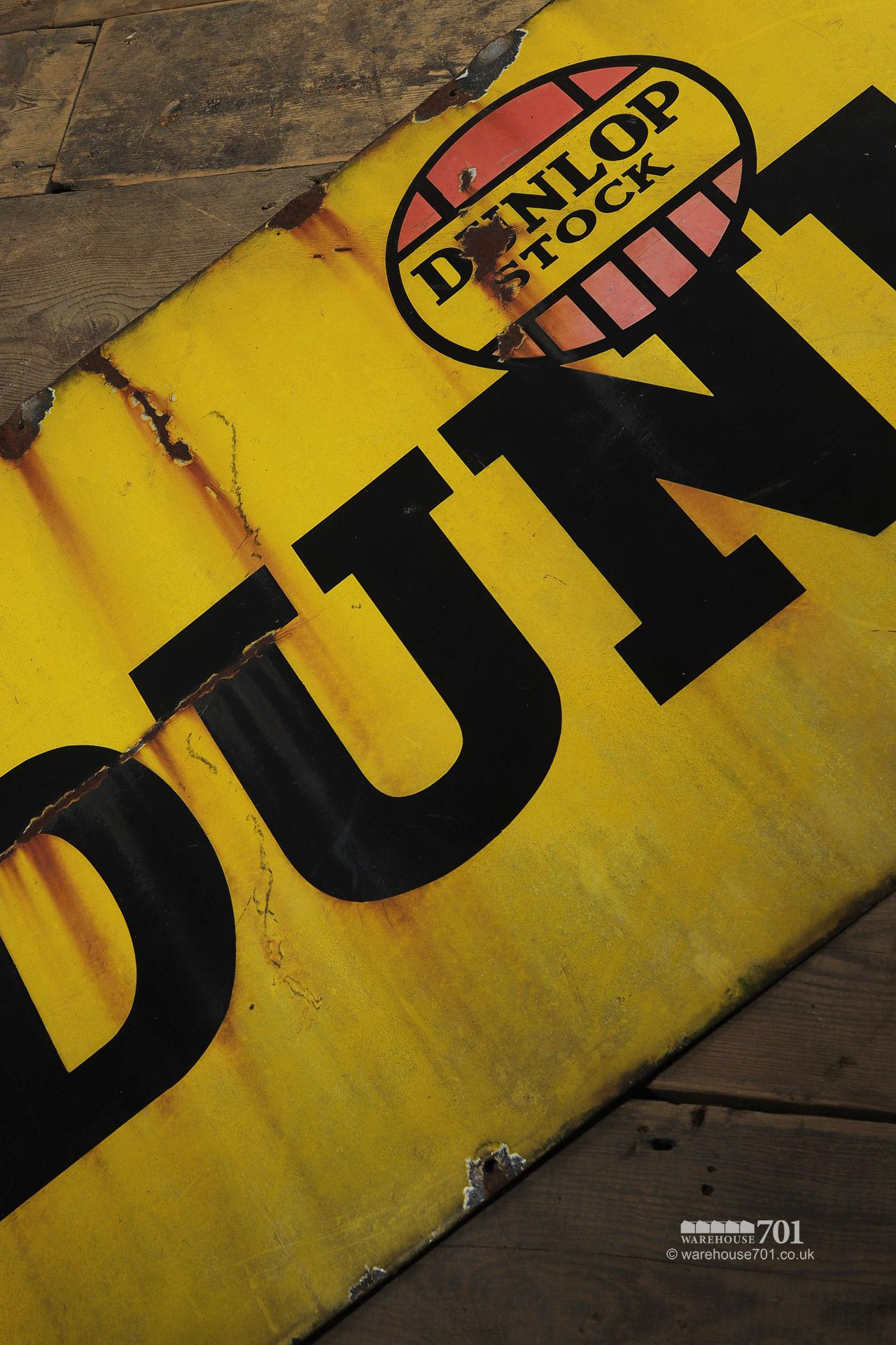 Old Metal Single Sided Yellow Enamel Dunlop Stock Sign #3