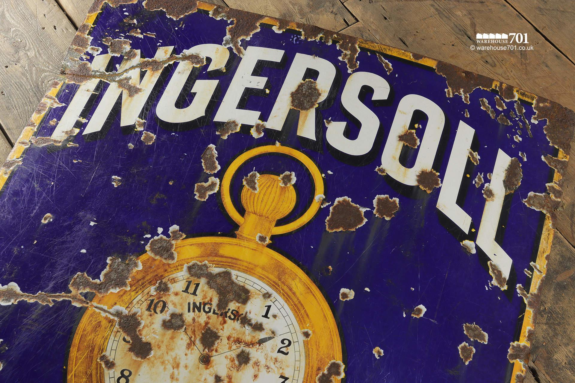Salvaged Blue Enamel Ingersoll Watches Single Sided Sign #3