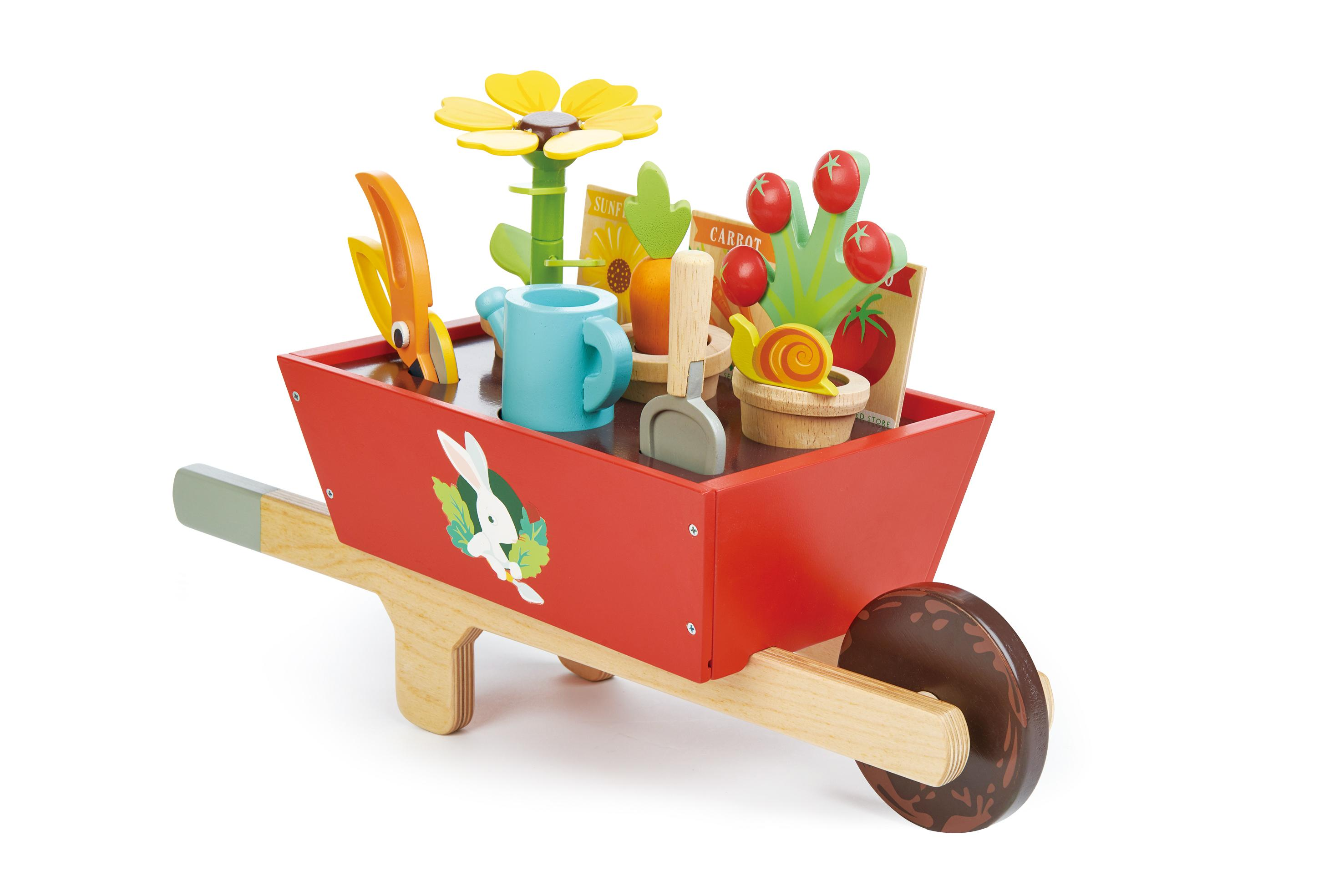 New Wooden Toy Wheelbarrow Set with Removeable Plants, Tools and more