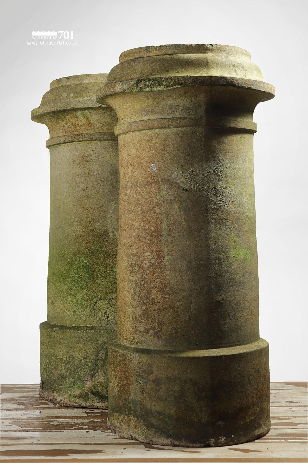 Pair of Reclaimed Tall Cream or Buff Ribbed Cannon Chimney Pots