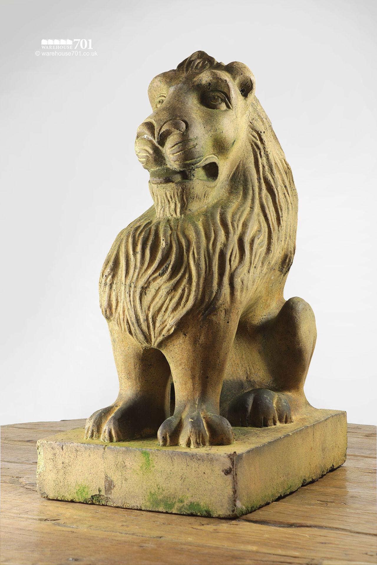 Beautiful Salvaged Ornamental Terracotta Stylised Lion Figure #4