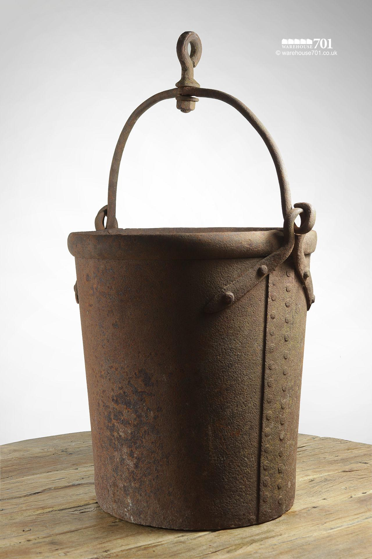 Rare Old Salvaged Rivetted Wrought Iron Well Bucket with Hook