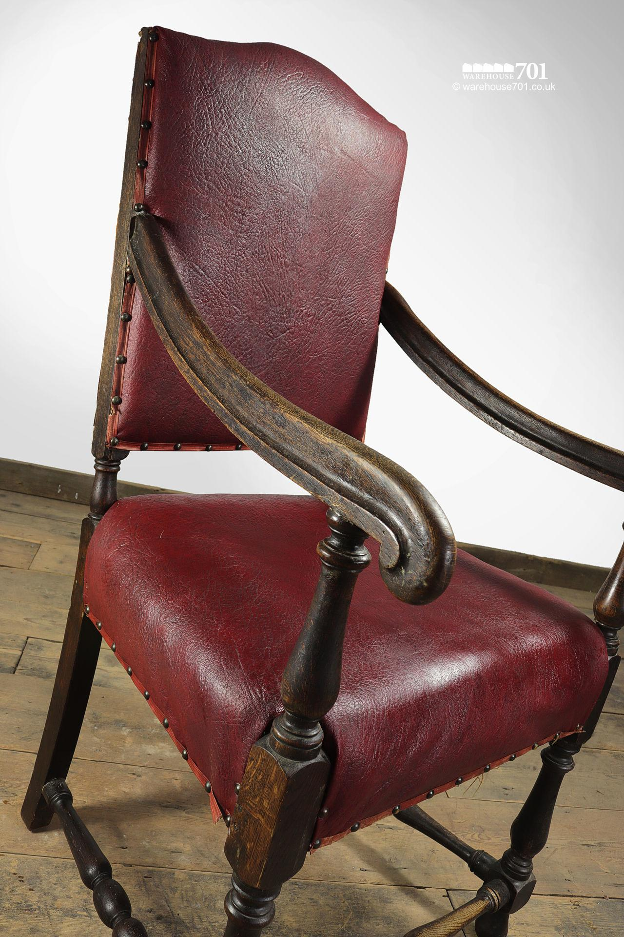 Grand Old Red leather and Oak Hallway or Armchair #5