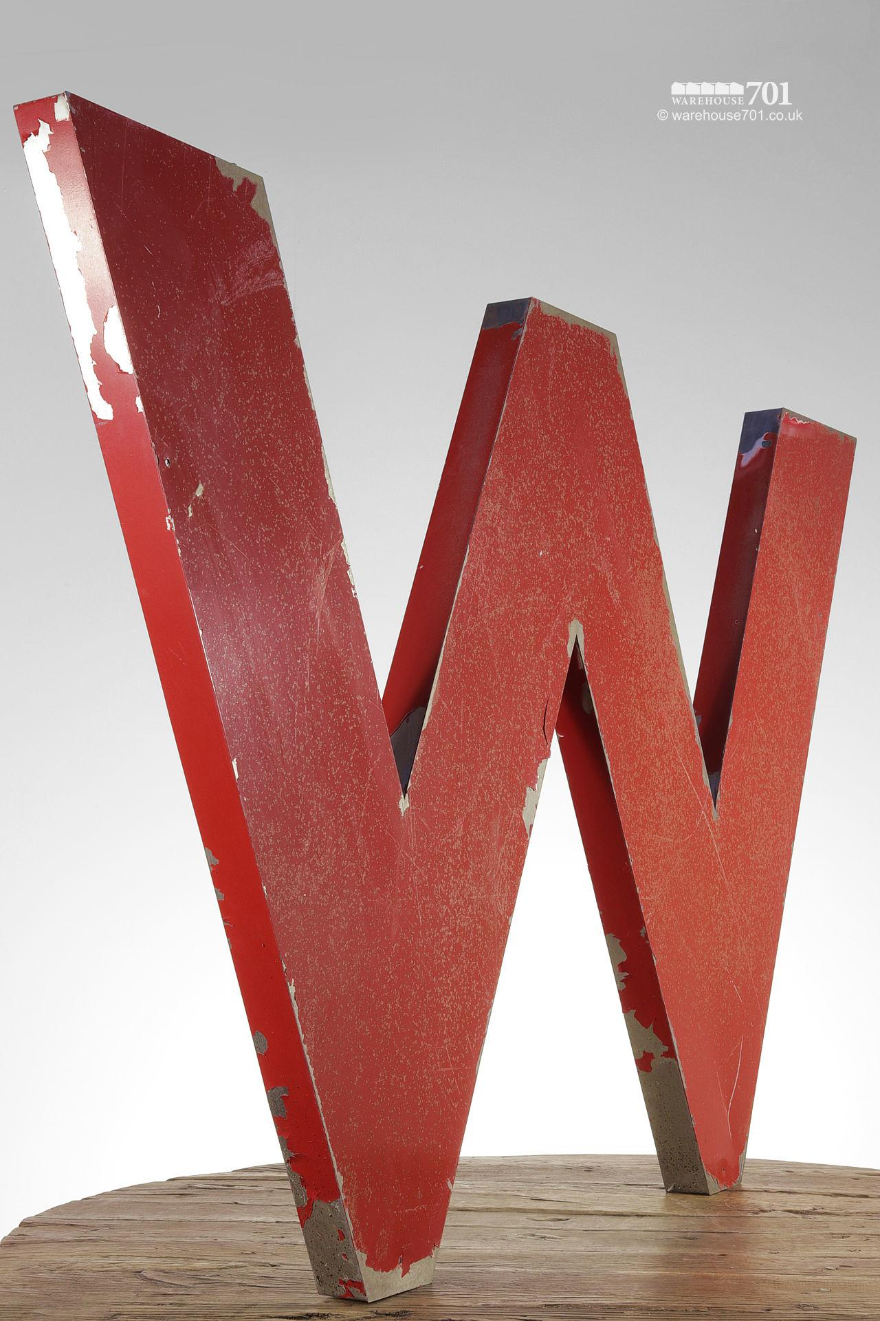 Large Red Vintage Metal Painted Letter W
